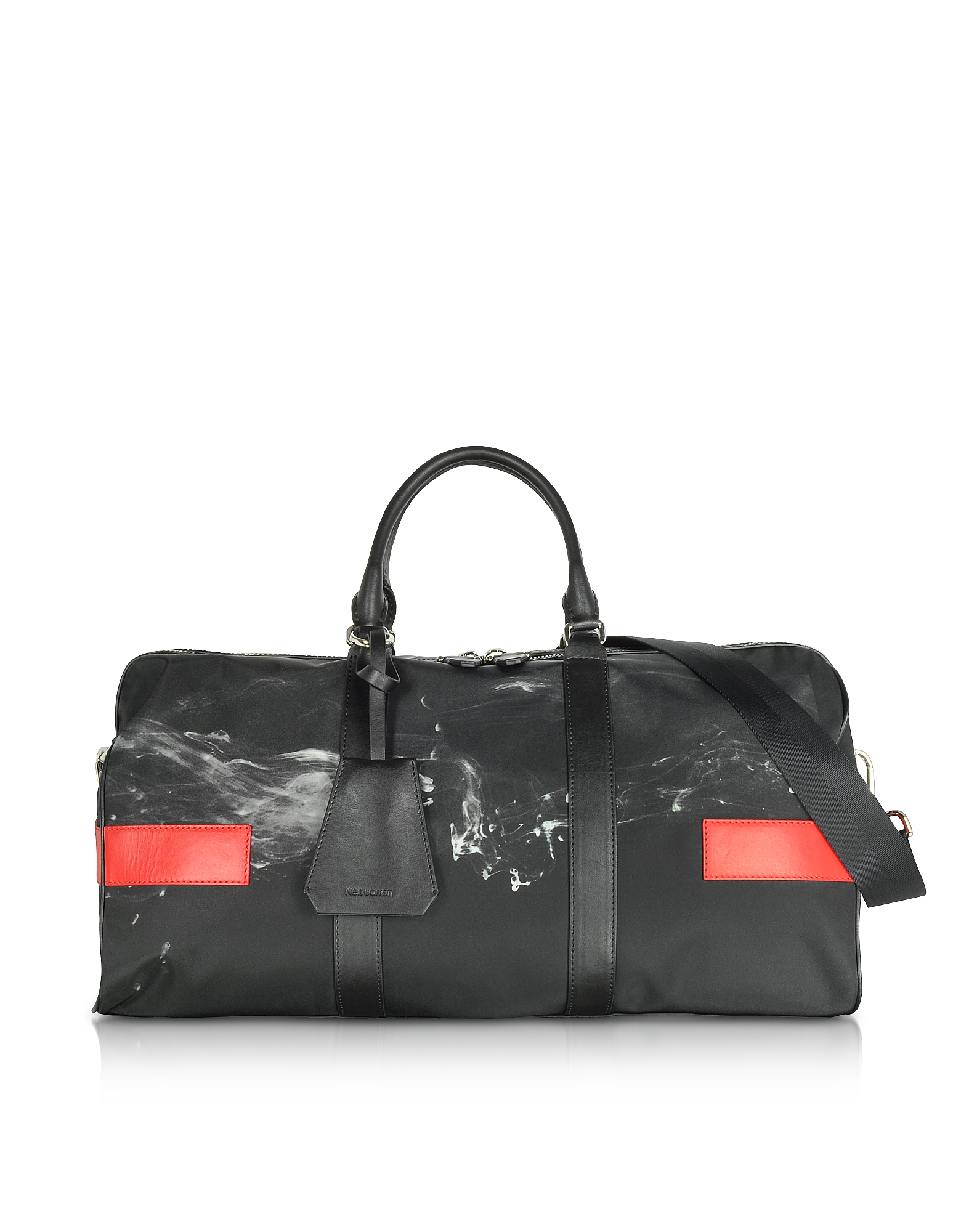 Neil Barrett Travel Bags, Black/White Liquid Ink Printed Nylon Gym Bag w/Red Leather Band