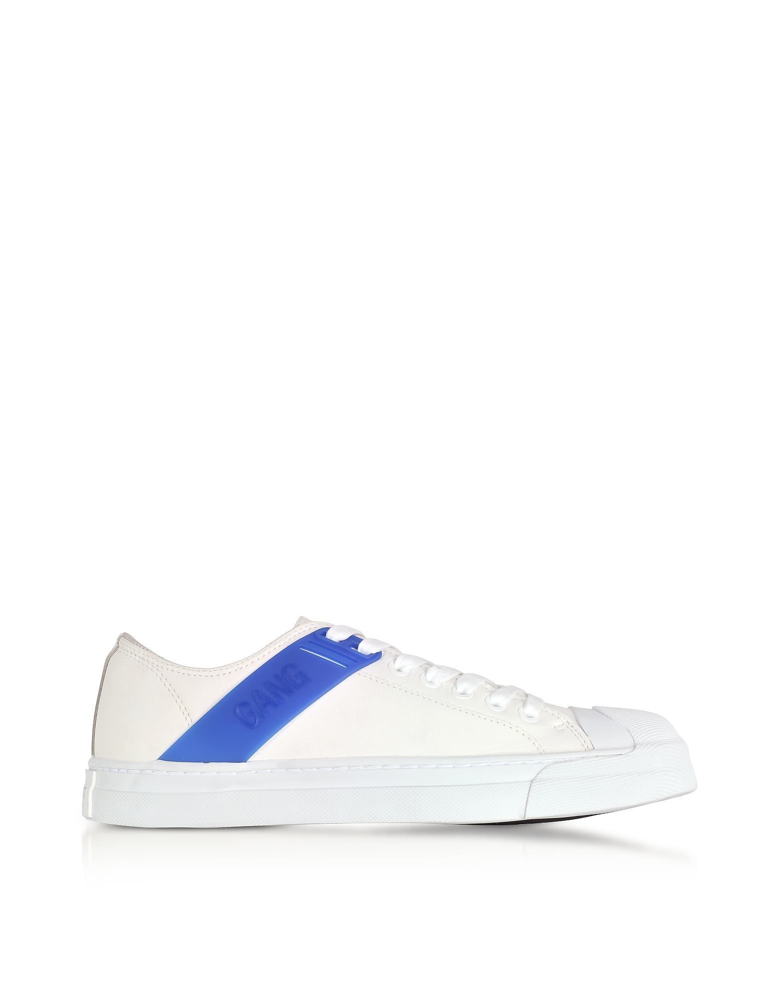 Neil Barrett Shoes, Gang Trainer White Leather and Cobalt Blue Rubber Sneakers