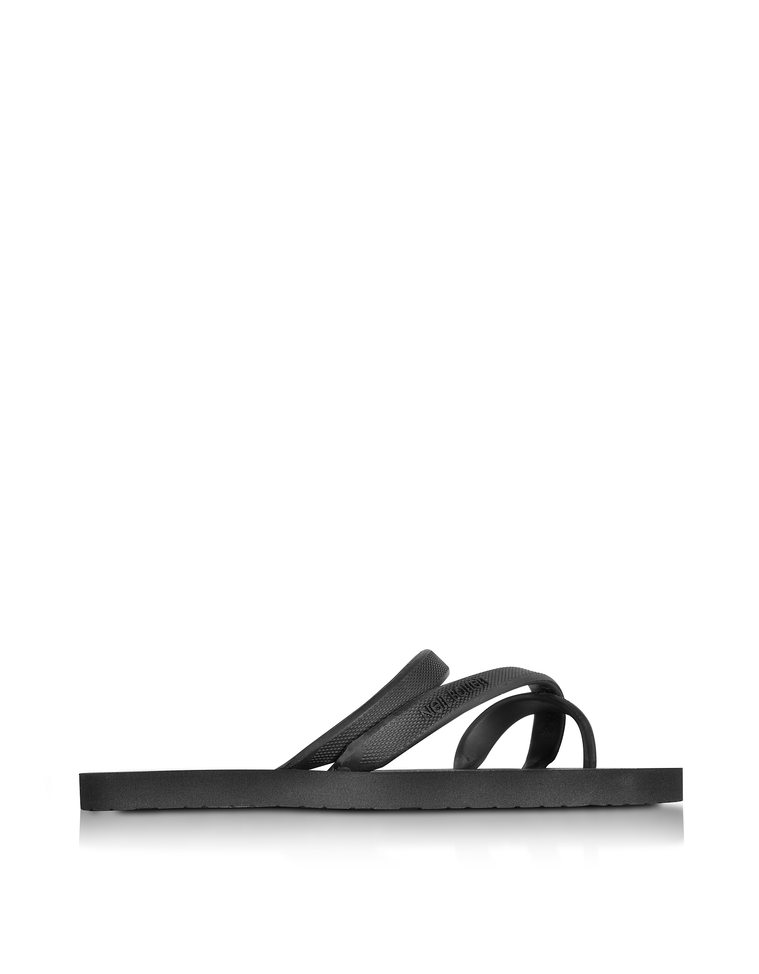 Neil Barrett Shoes, Black Rubber Thunderbolt Flip Flop