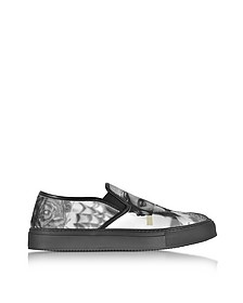 Black & White Statue Printed Canvas Slip on Trainer - Neil Barrett