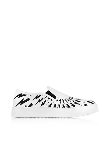 Neil Barrett - White and Black Optic Printed Canvas Slip on Trainer