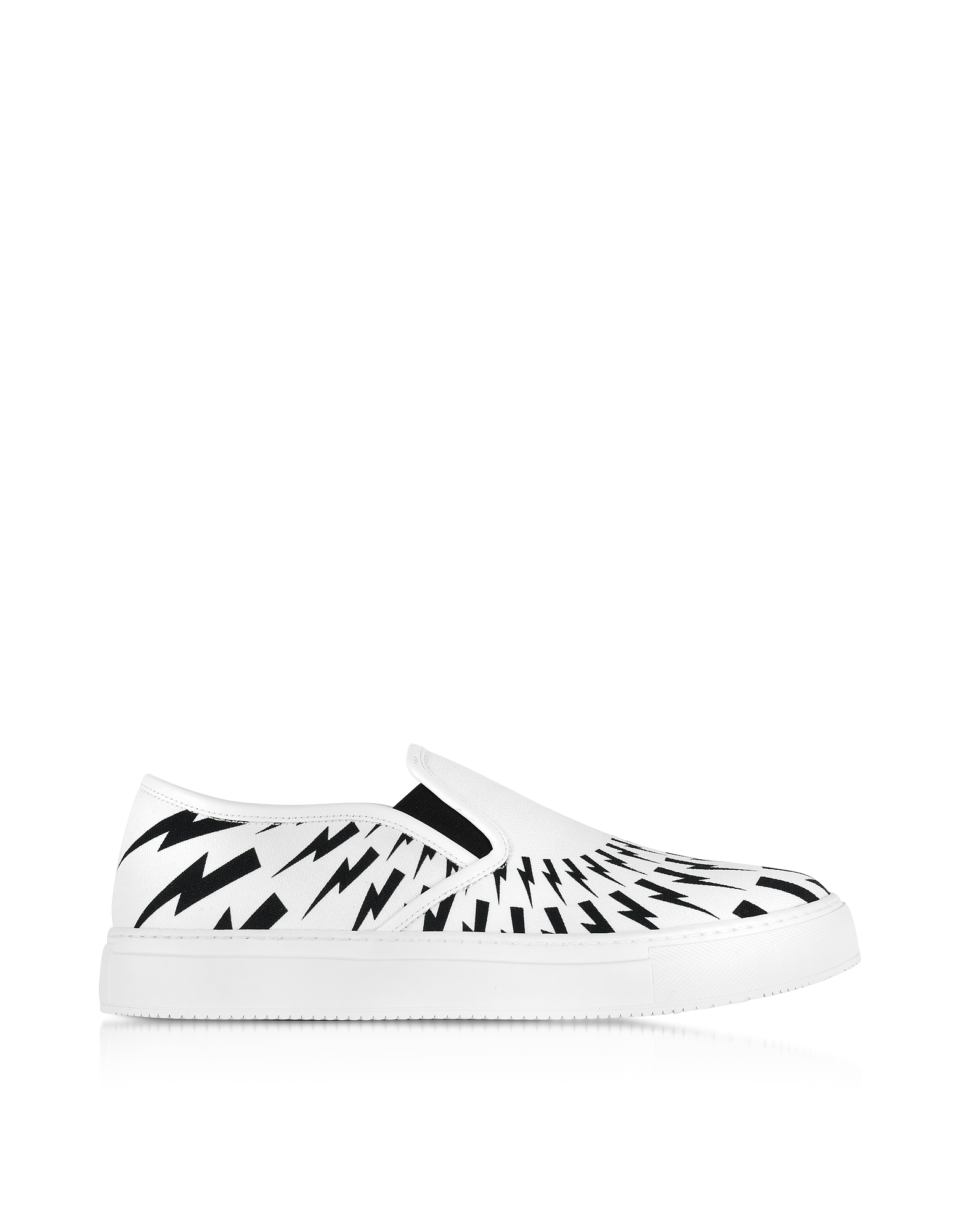 Neil Barrett Shoes, White and Black Optic Printed Canvas Slip on Trainer