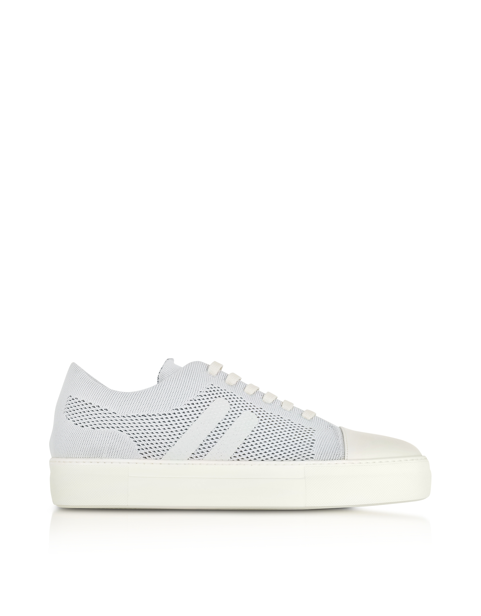 Neil Barrett Shoes, Off White Perforated Fabric and Nappa Leather Skateboard Sneakers