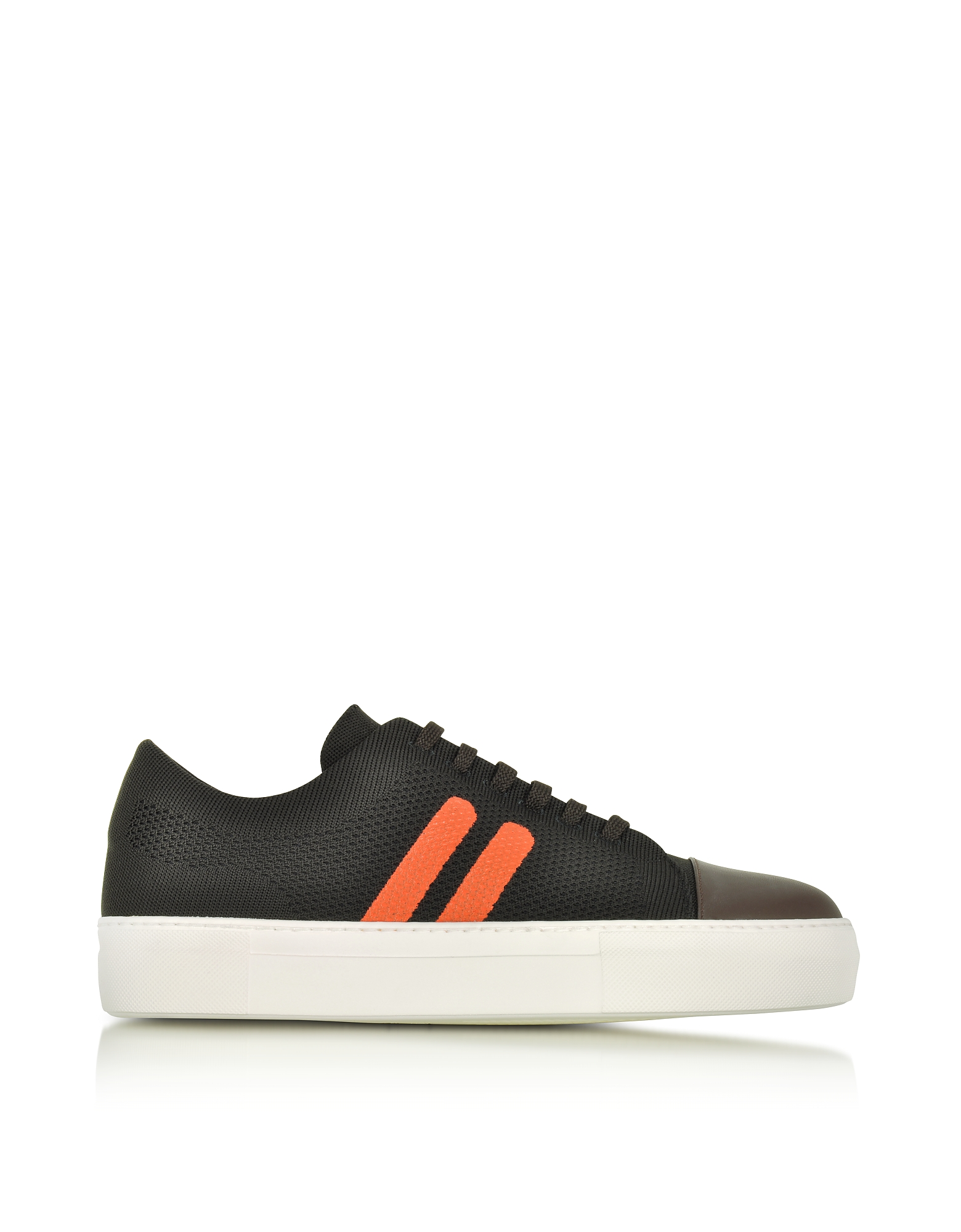 Image of Neil Barrett Designer Shoes, Chocolate/Orange Perforated Fabric and Nappa Leather Skateboard Sneakers