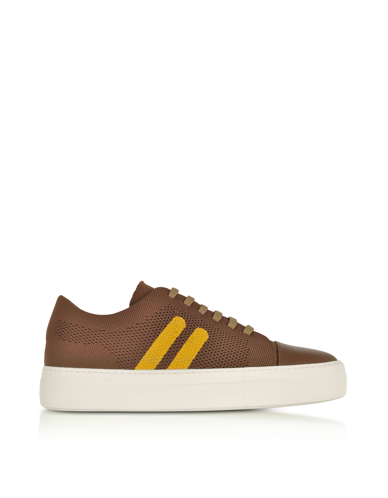 Neil Barrett Shoes, Cognac/Buttercup Perforated Fabric and Nappa Leather Skateboard Sneakers