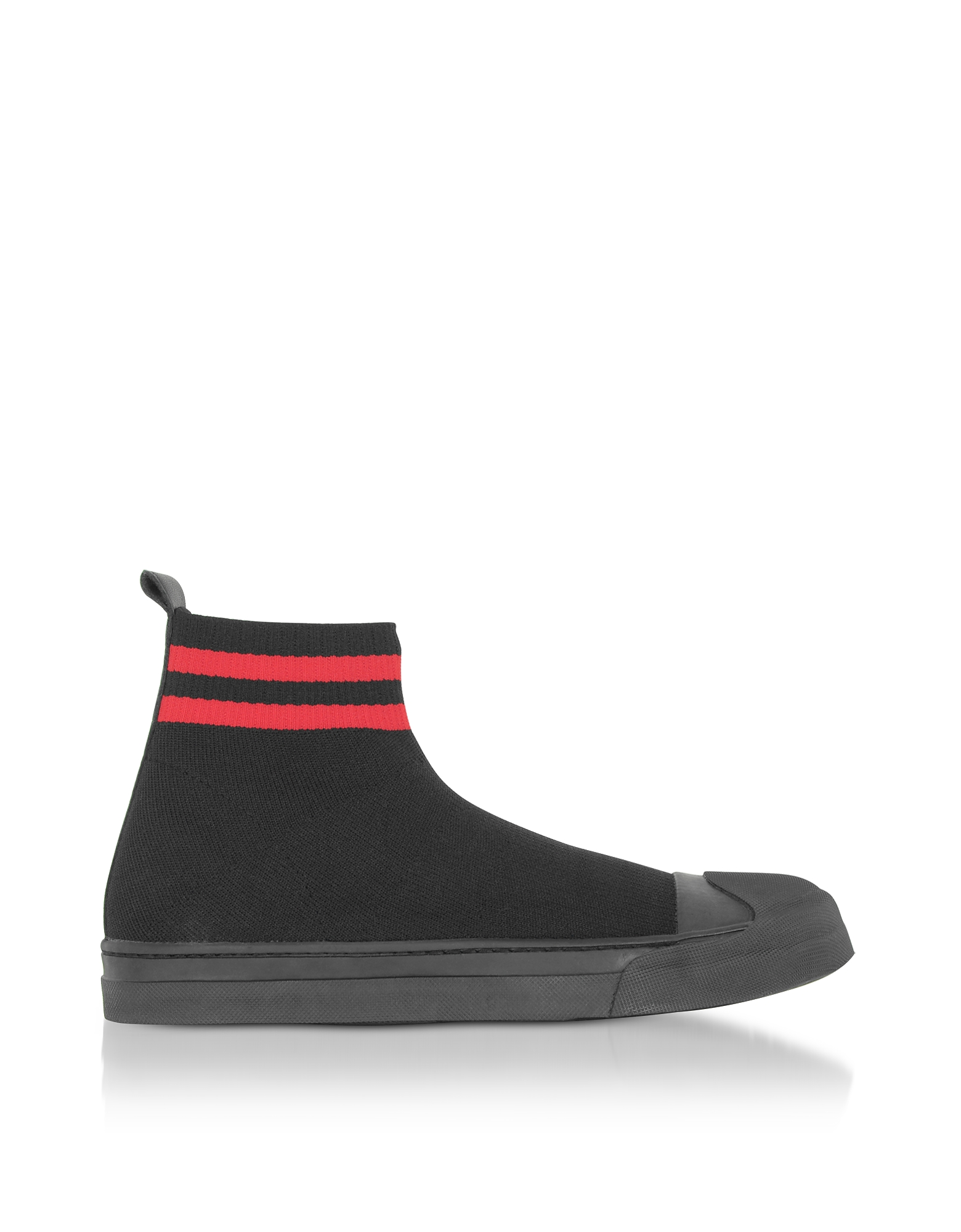 Image of Neil Barrett Designer Shoes, Black/Red Tech Knit Fabric Skater Boots