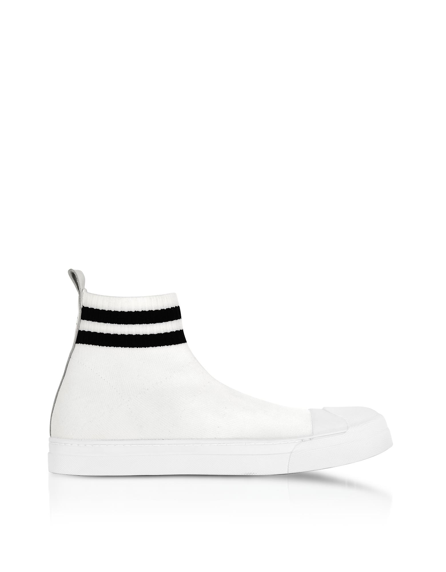 Белые / Черные Ботинки из Вязаной Технической Ткани