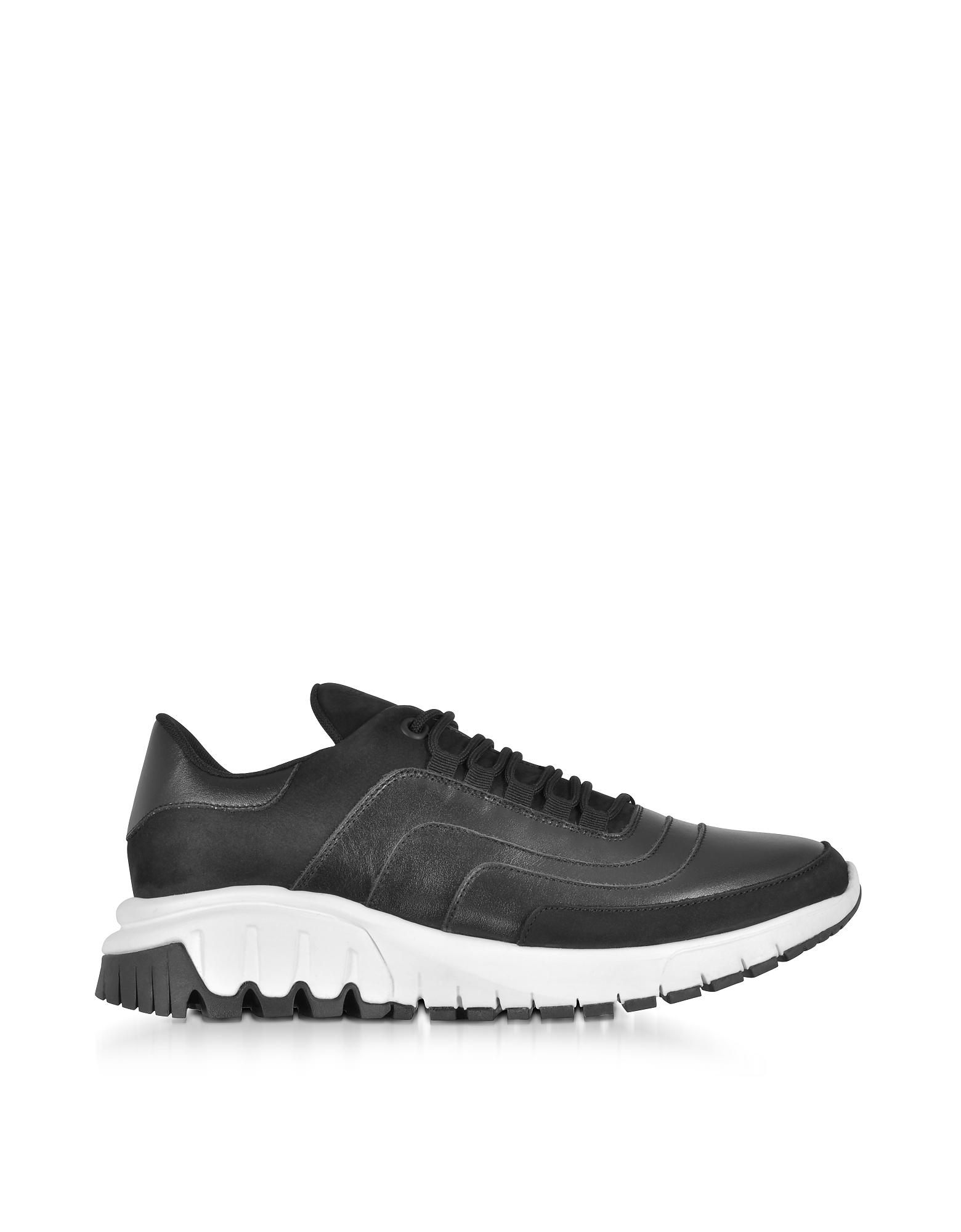 Neil Barrett Shoes, Black Leather and Nubuck Urban Runner