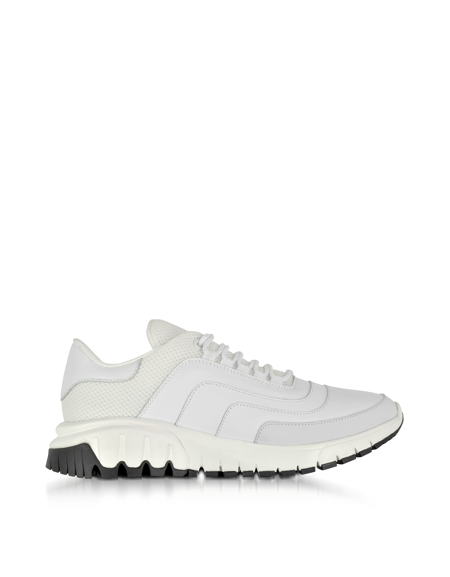 Neil Barrett Shoes, White Nylon, Leather and Nubuck Urban Runner