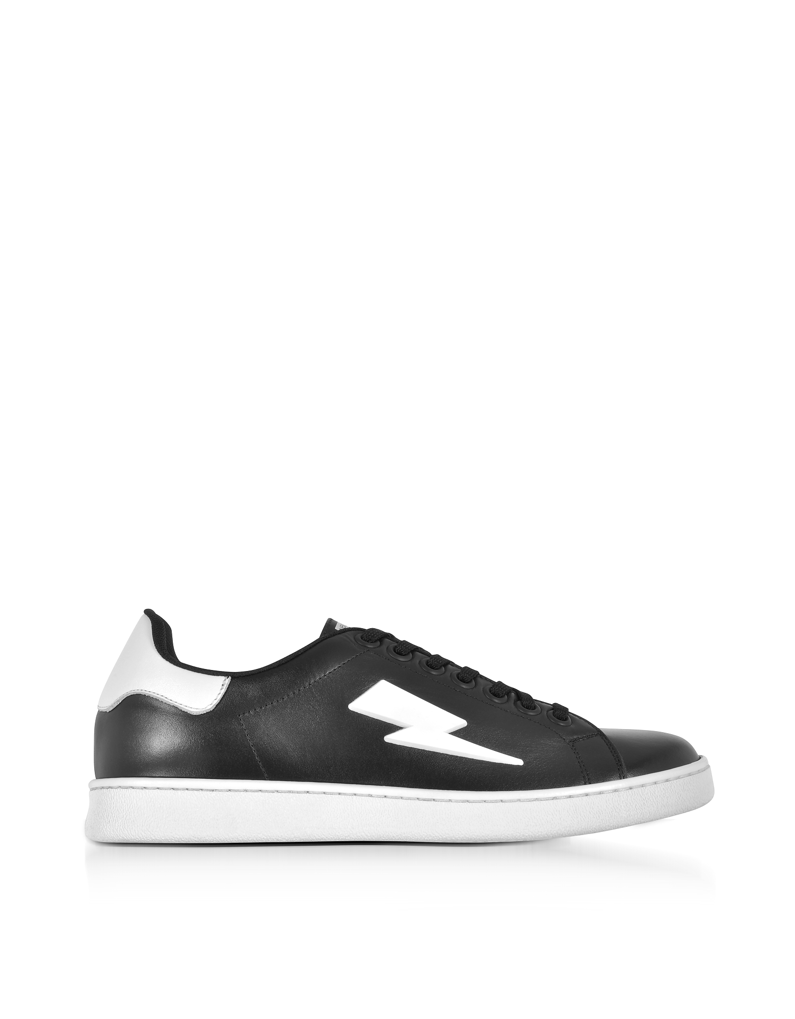 Black and White Leather Thunderbolt Tennis Sneakers