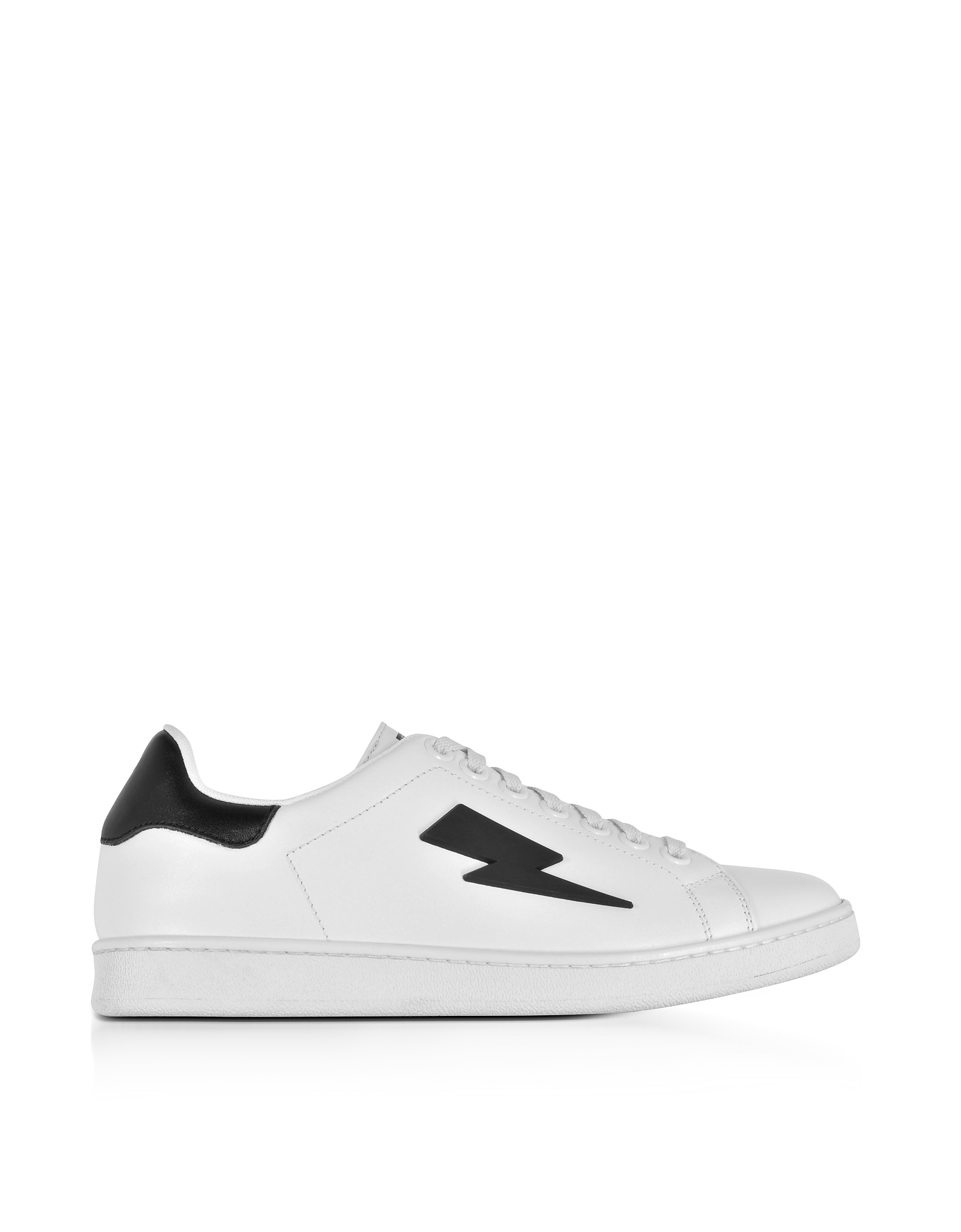 Neil Barrett Shoes, White and Black Leather Thunderbolt Tennis Sneakers