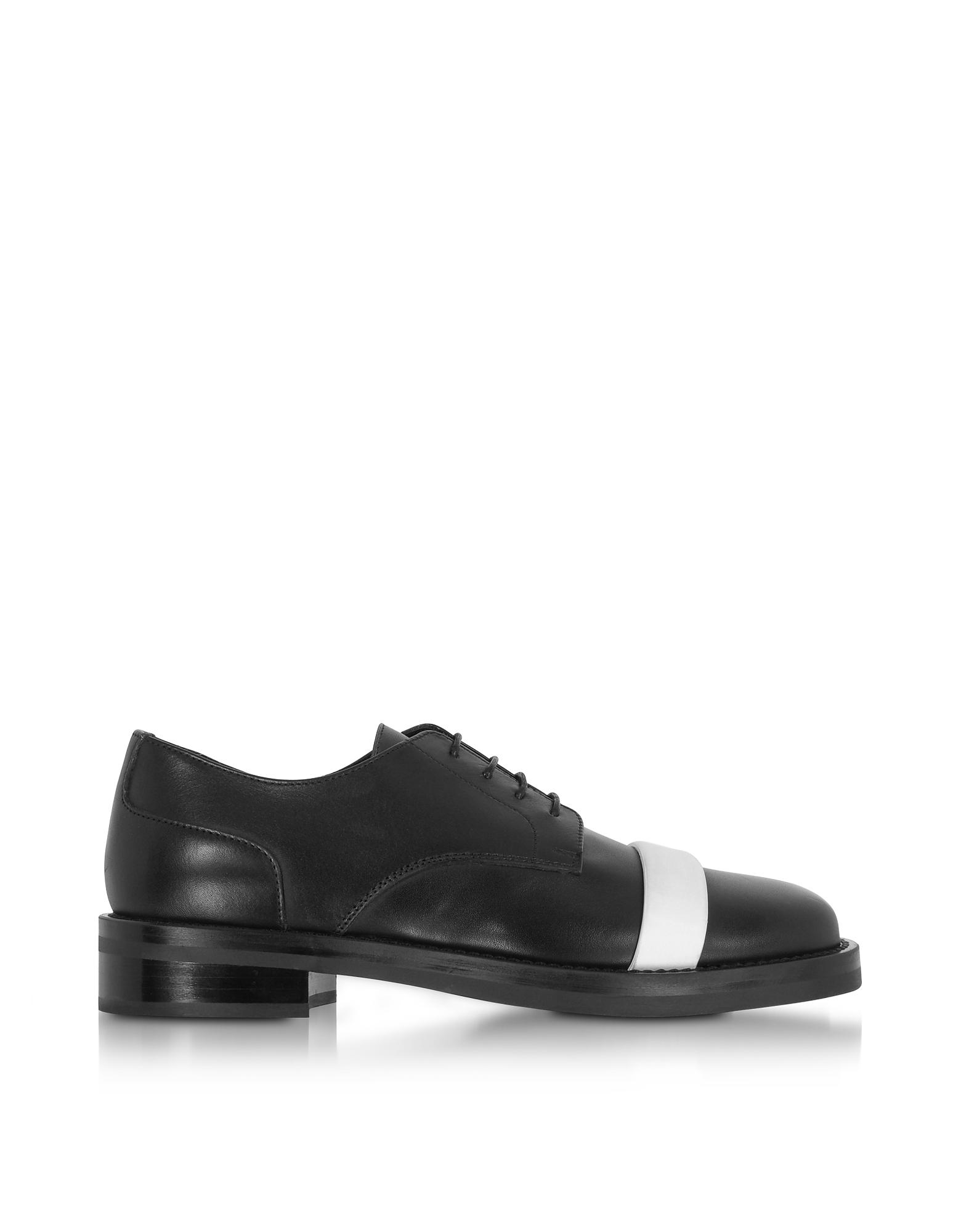 Neil Barrett Shoes, Black Leather Derby Shoes w/White Strap