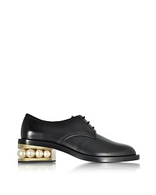Casati Black Leather Pearl Derby - Nicholas Kirkwood