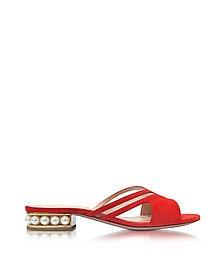 Mule Flat in Suede Rosso Corallo con Perle - Nicholas Kirkwood