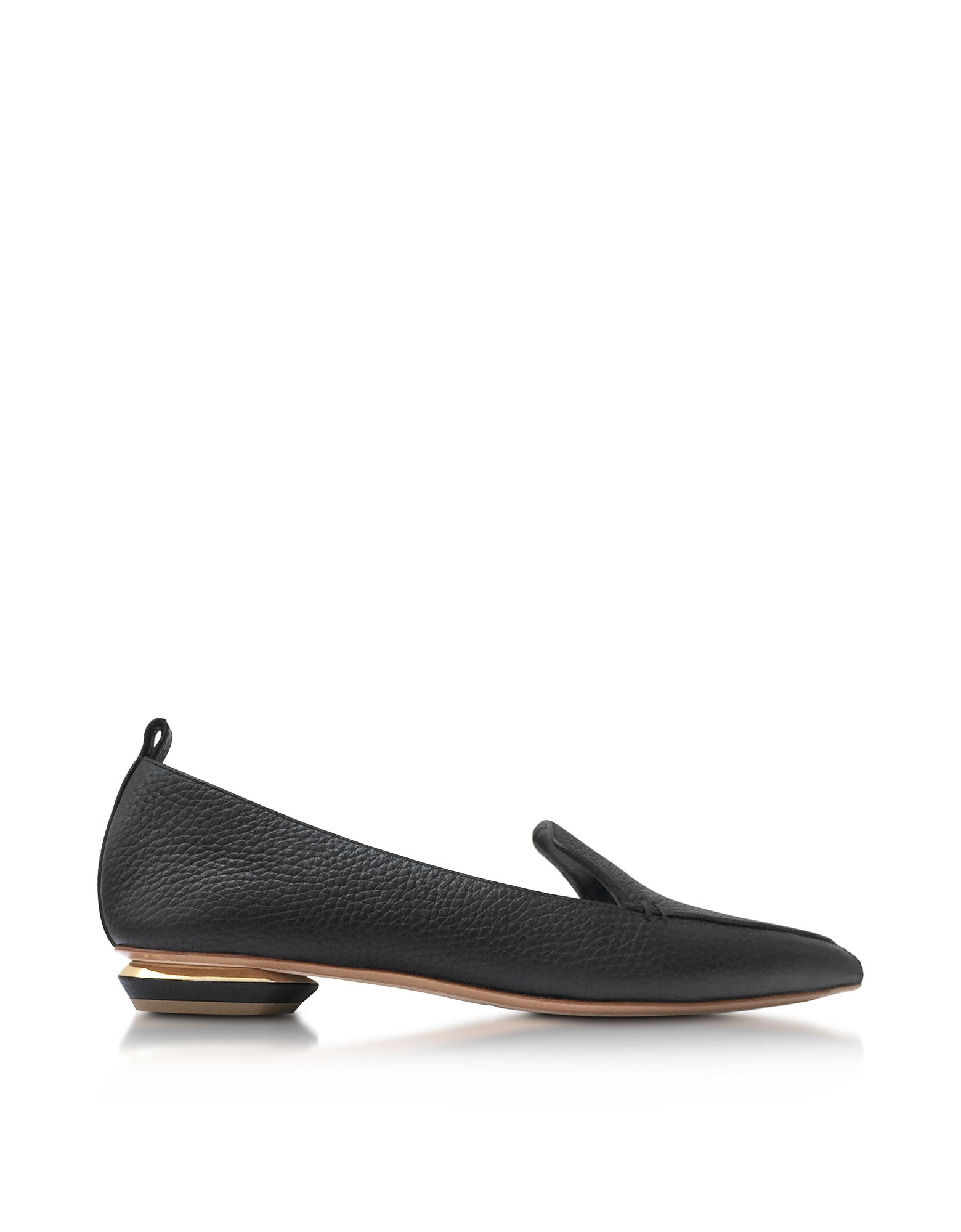 Nicholas Kirkwood Shoes, Beya Black Tumbled Leather Loafer
