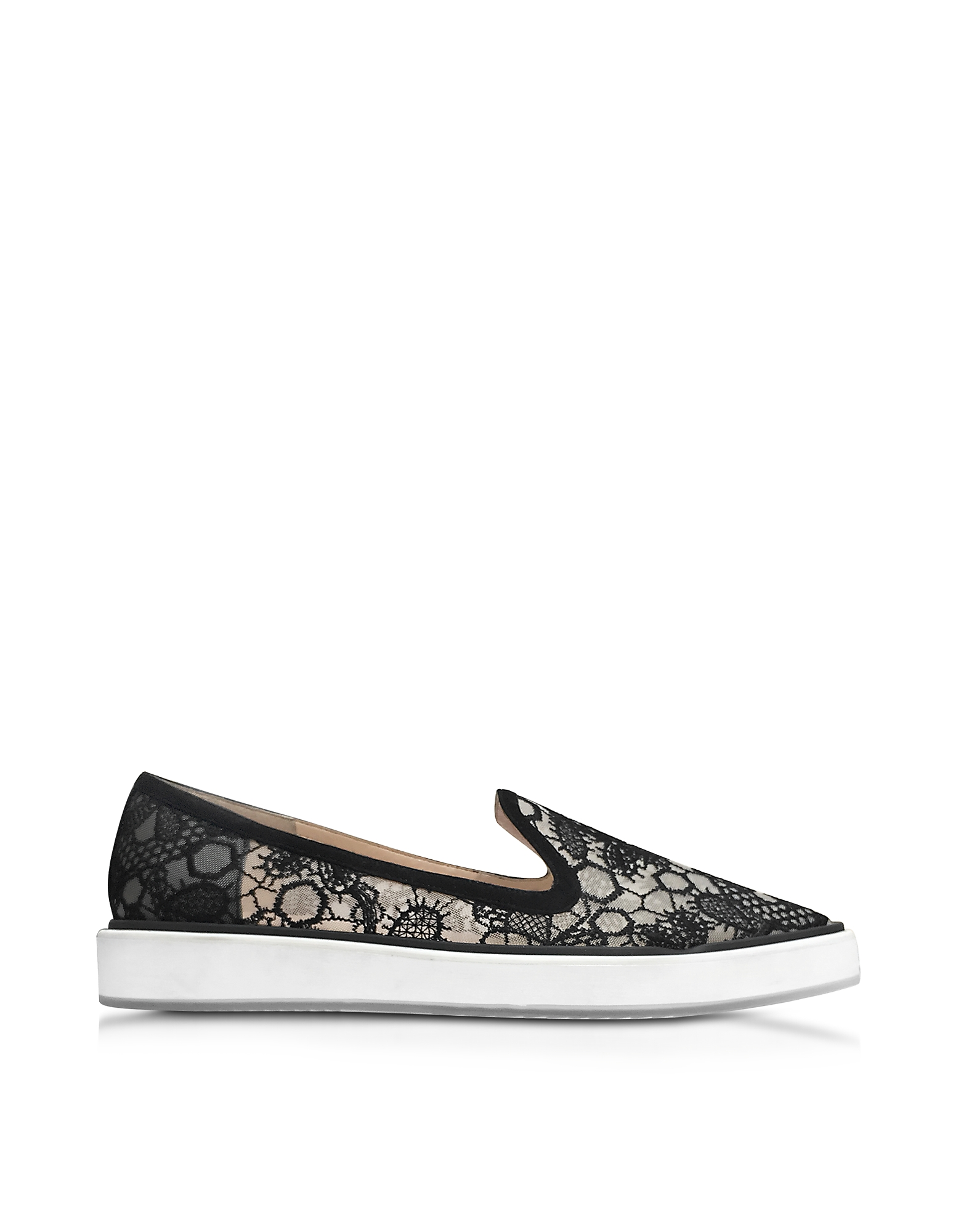 Nicholas Kirkwood Shoes, Alona Black Viscosa Lace Slipper
