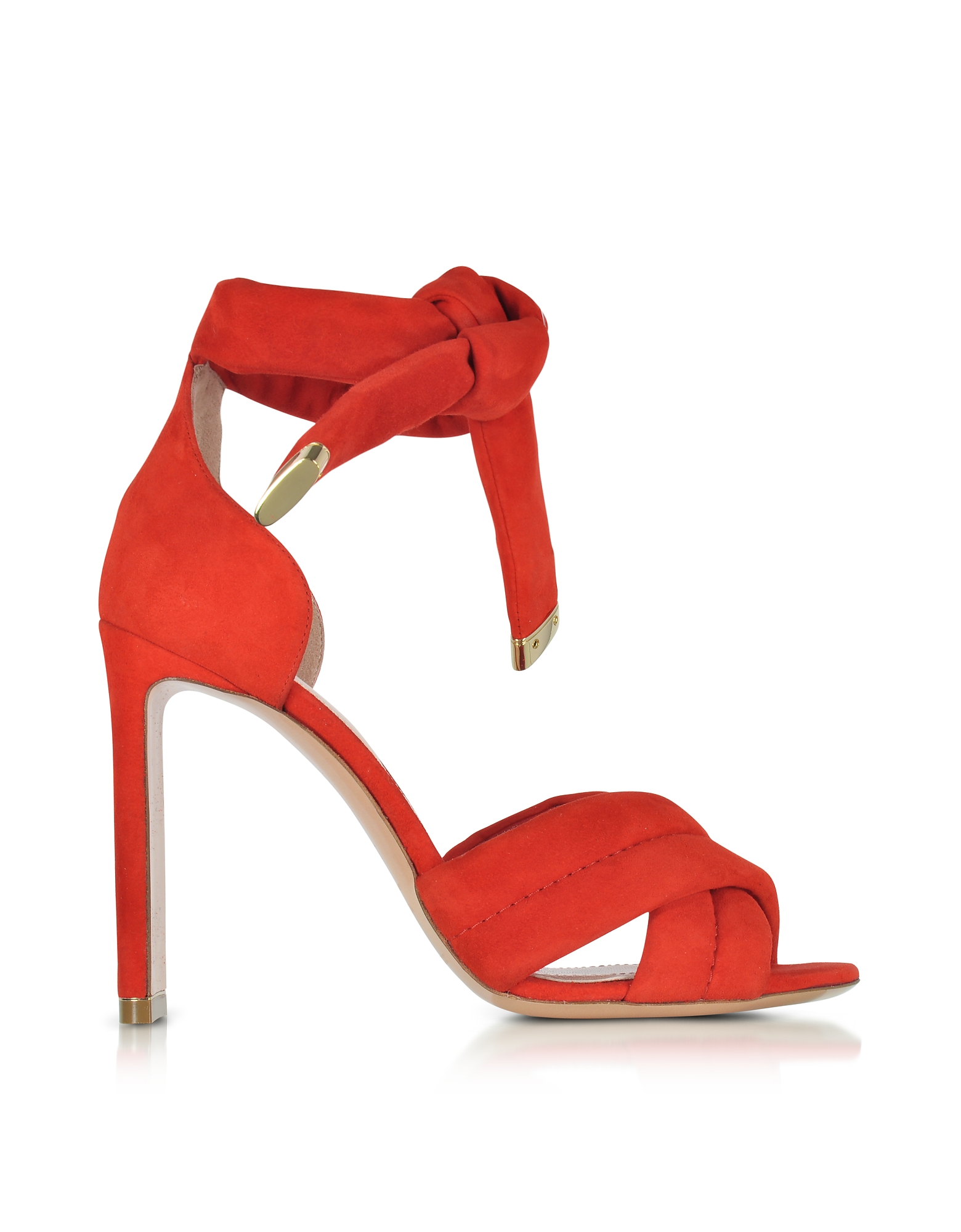 Nicholas Kirkwood Shoes, Ziggy Coral Red Suede Sandal