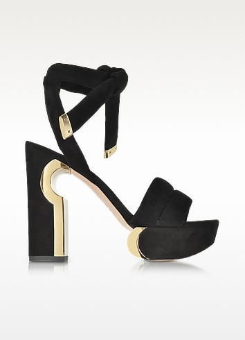 Ziggy Black Suede Platform Sandal - Nicholas Kirkwood