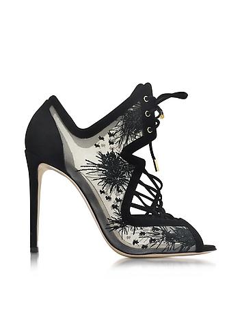 Phoenix Black Embroidered Sandal