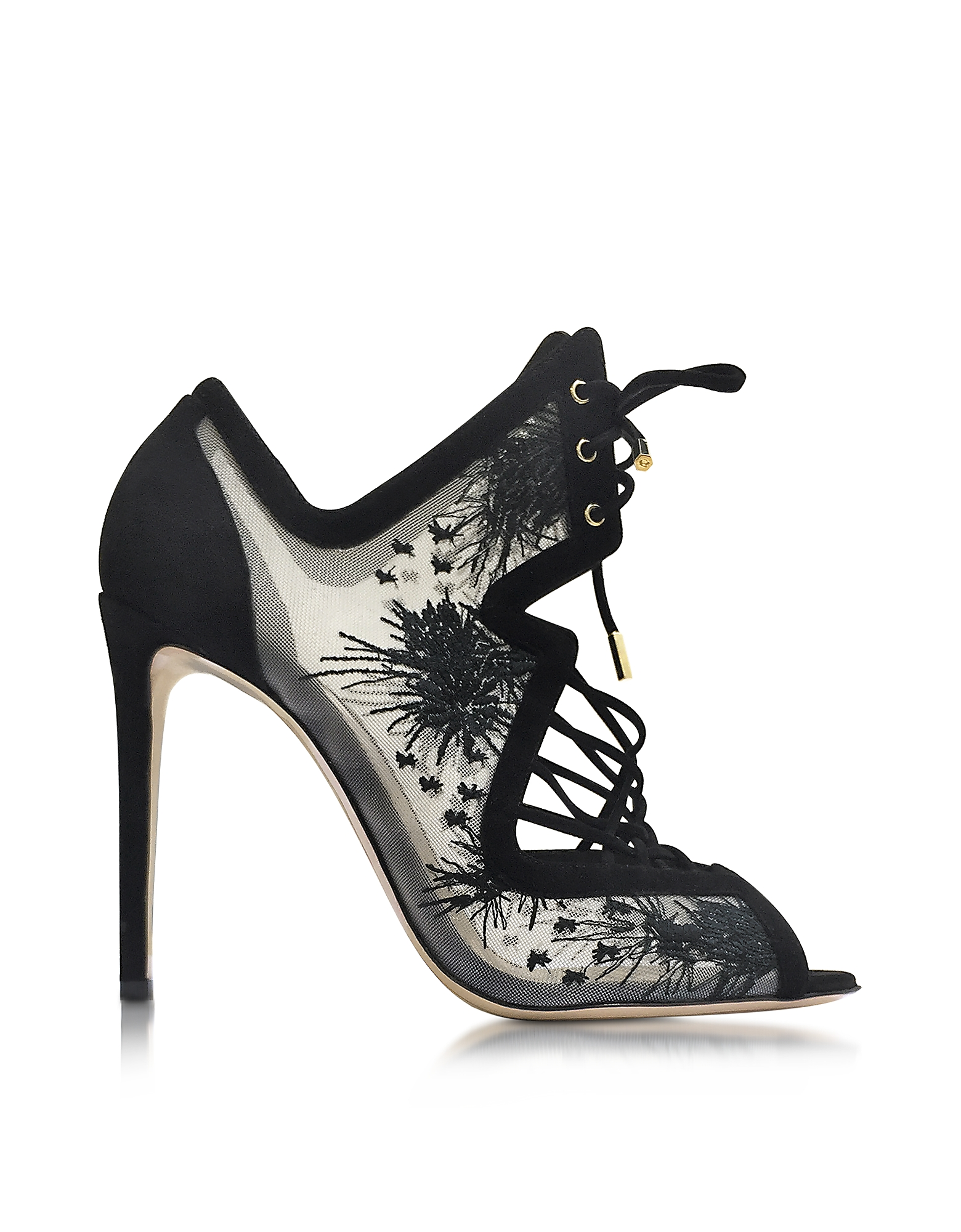 Nicholas Kirkwood Shoes, Phoenix Black Embroidered Sandal