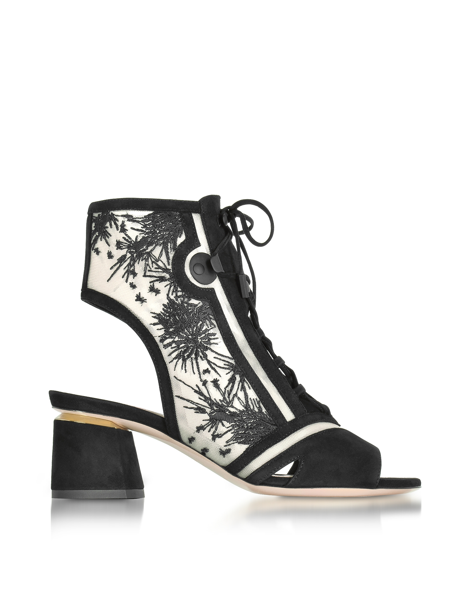 Nicholas Kirkwood Phoenix Black Embroidered Lace-up Bootie
