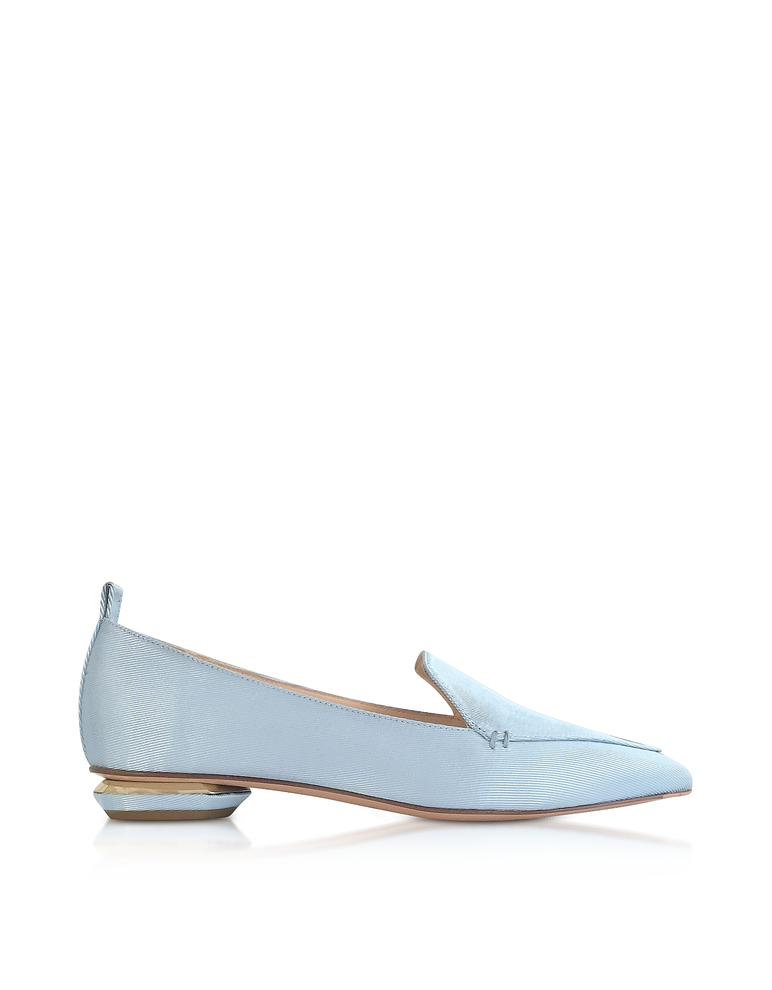 Nicholas Kirkwood Shoes, Platinum Blue Satin Beya Loafers
