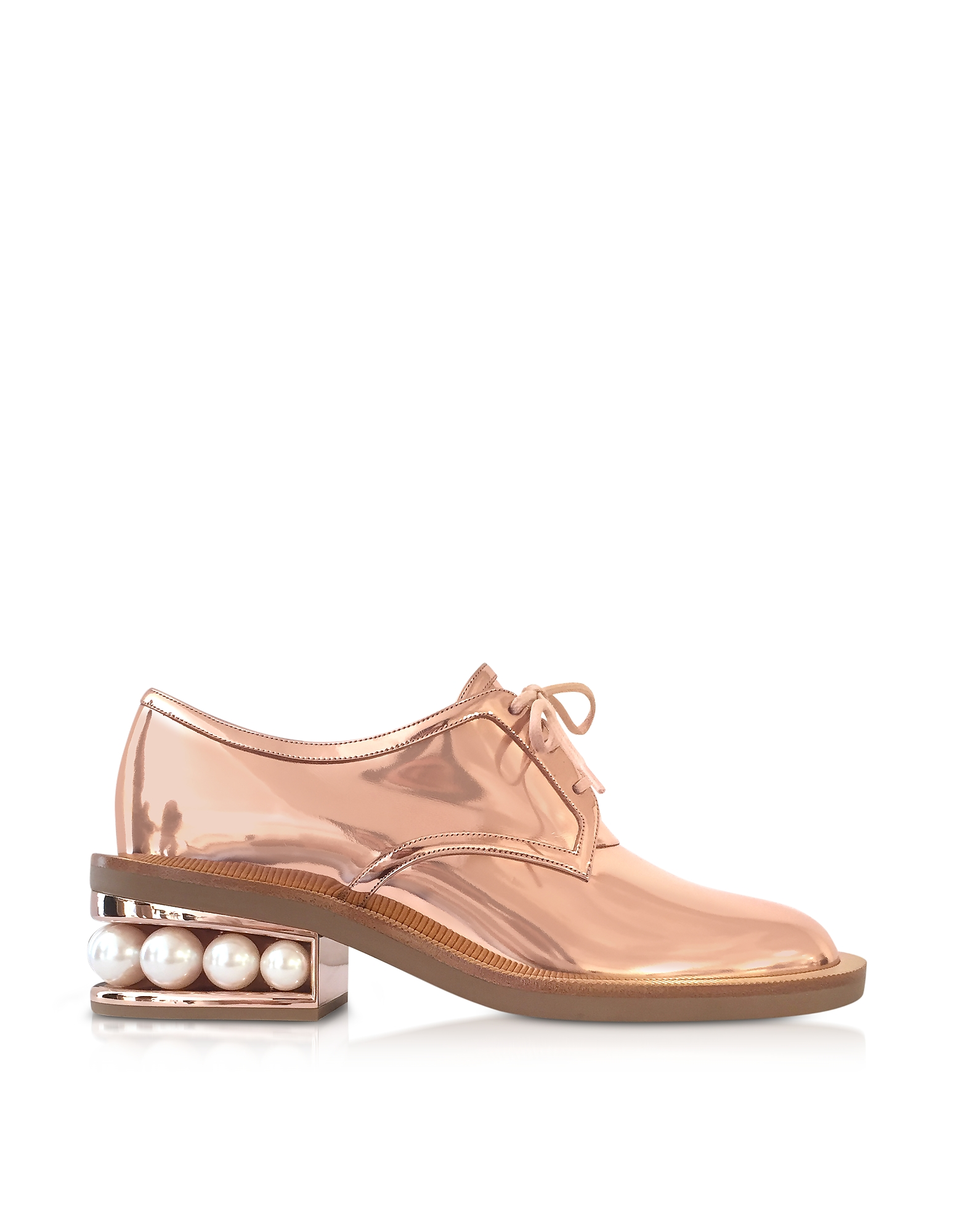 Nicholas Kirkwood Shoes, Copper Eco-Patent Leather Casati Pearl Derby Shoes