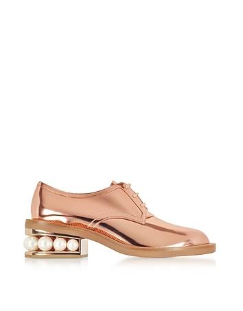 Copper Eco-Patent Leather Casati Pearl Derby Shoes