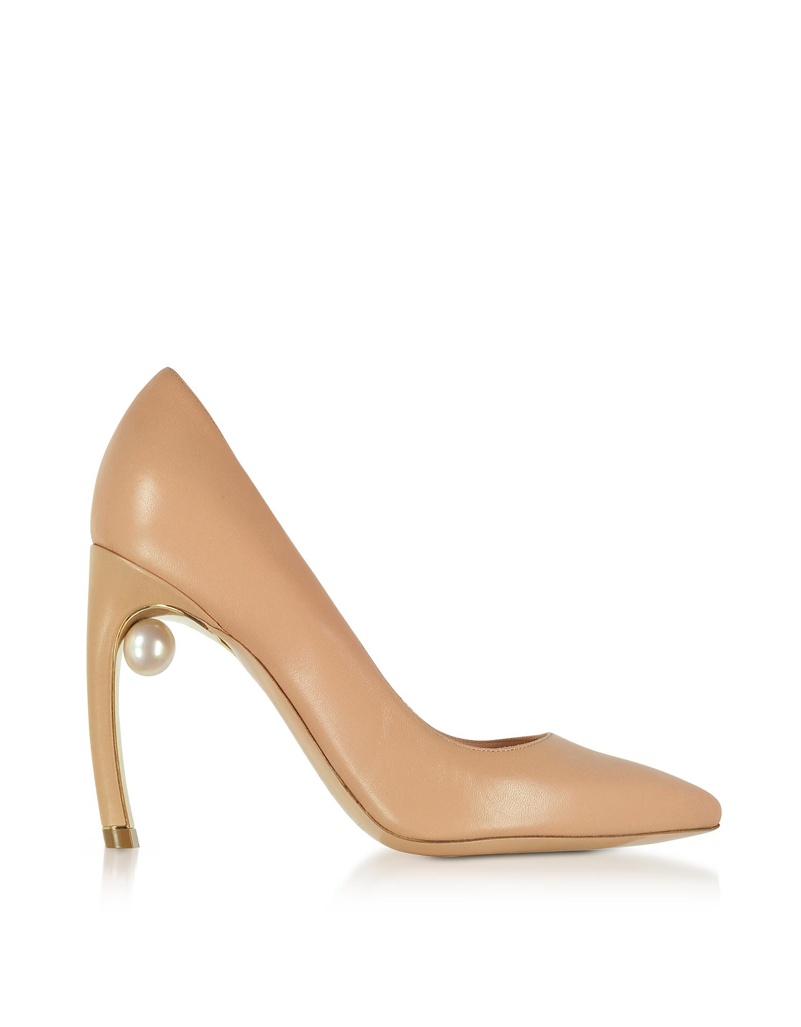 Nicholas Kirkwood Shoes, Nude Nappa Leather Mira Pearl Pumps