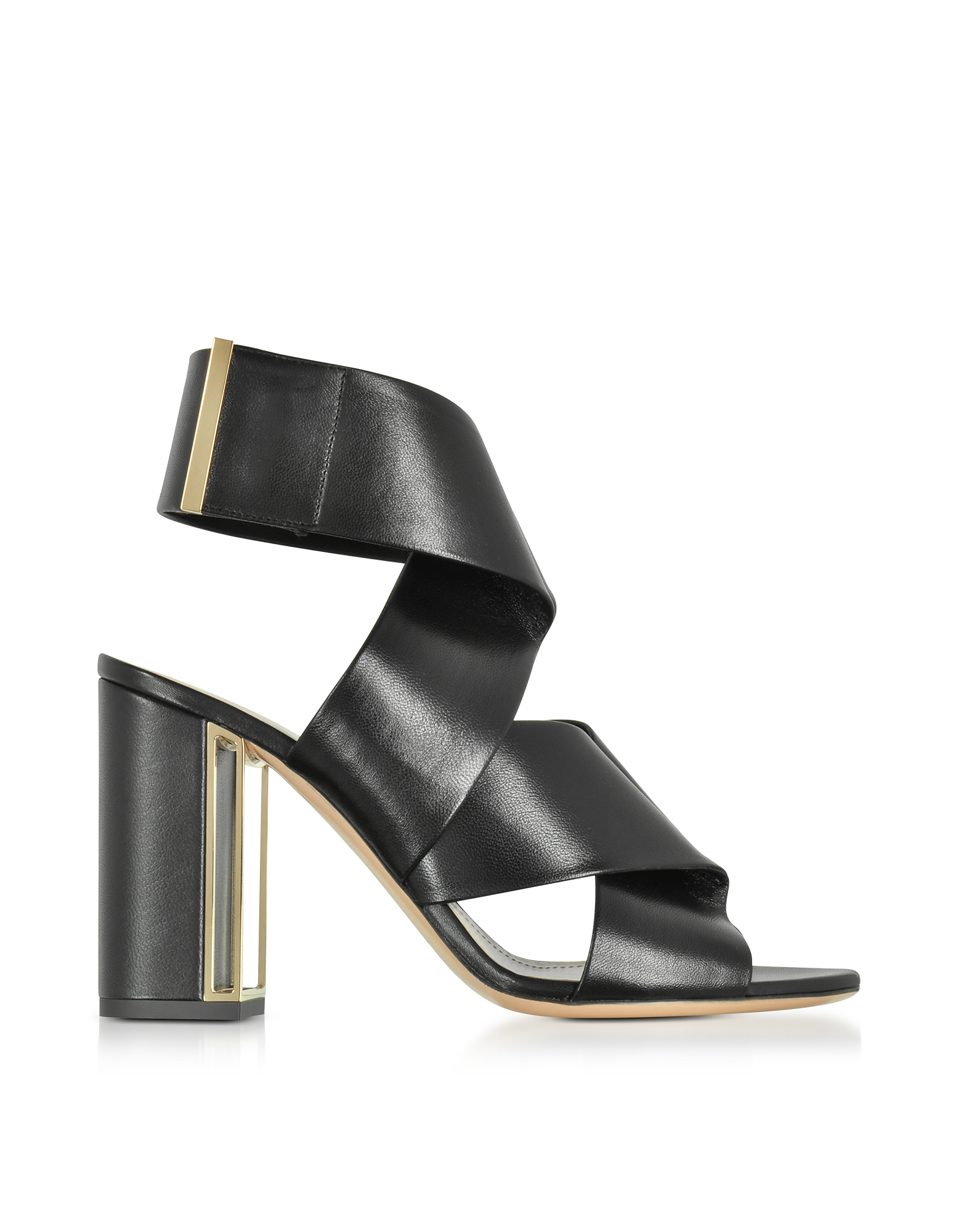 Black Nappa Leather Nini Sandals