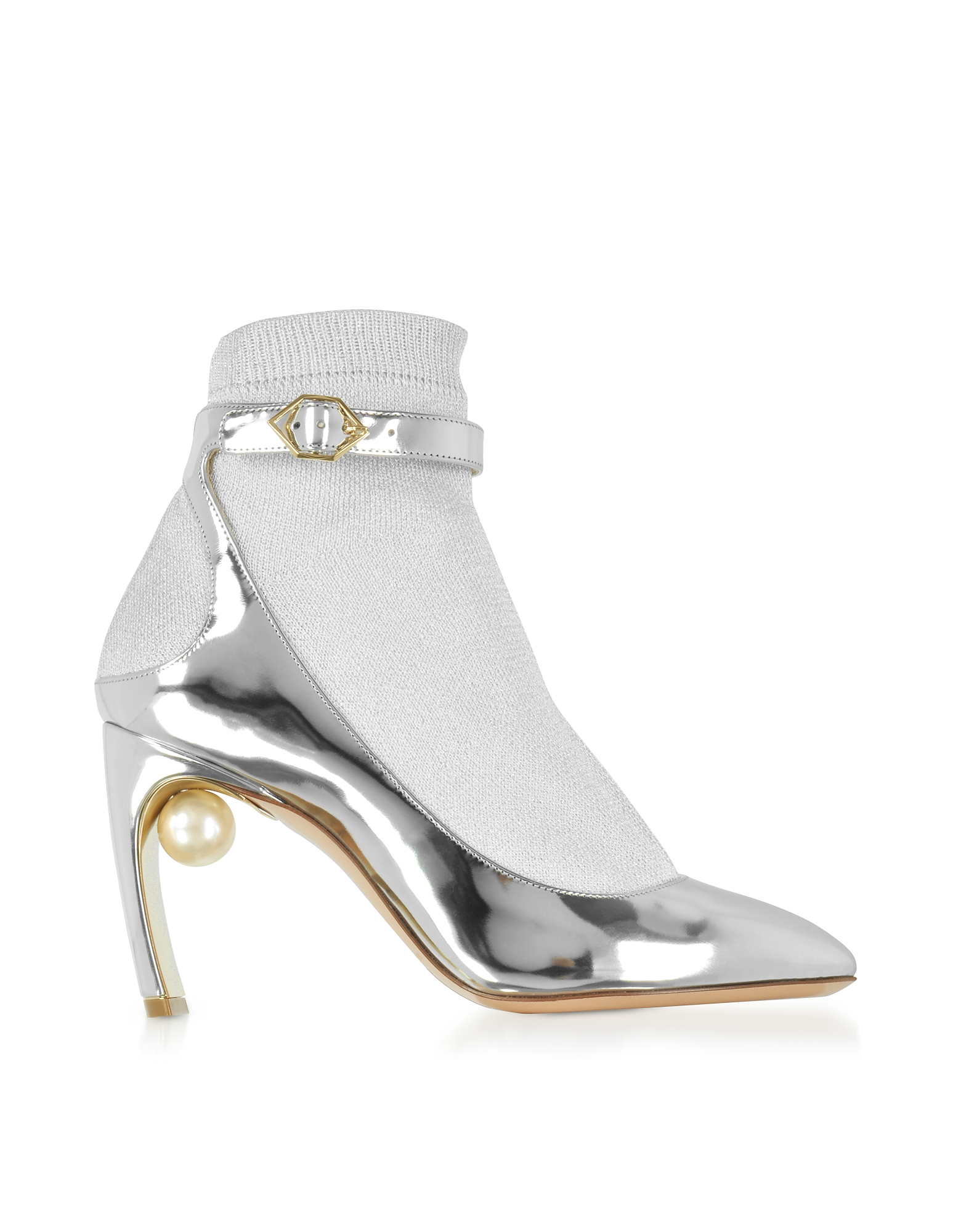 Nicholas Kirkwood Shoes, Silver Laminated Leather and Fabric Lola Pearl Sock Pumps