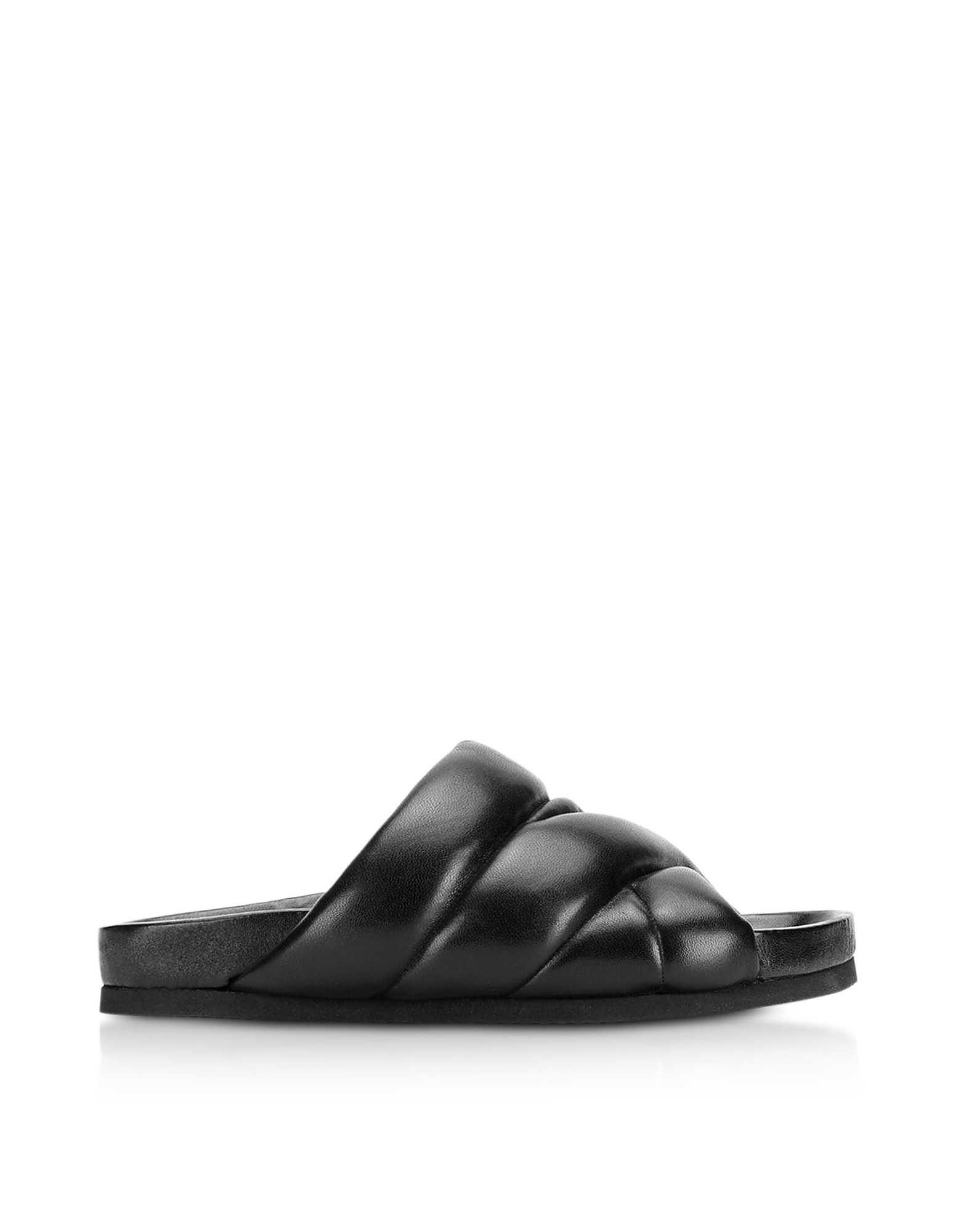 Black Nappa Leather 10mm Puffer Slide Sandals