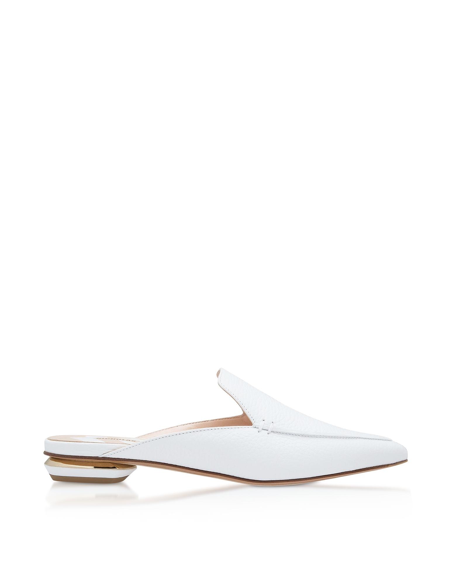 White Grainy Leather 18mm Beya Flat Mules
