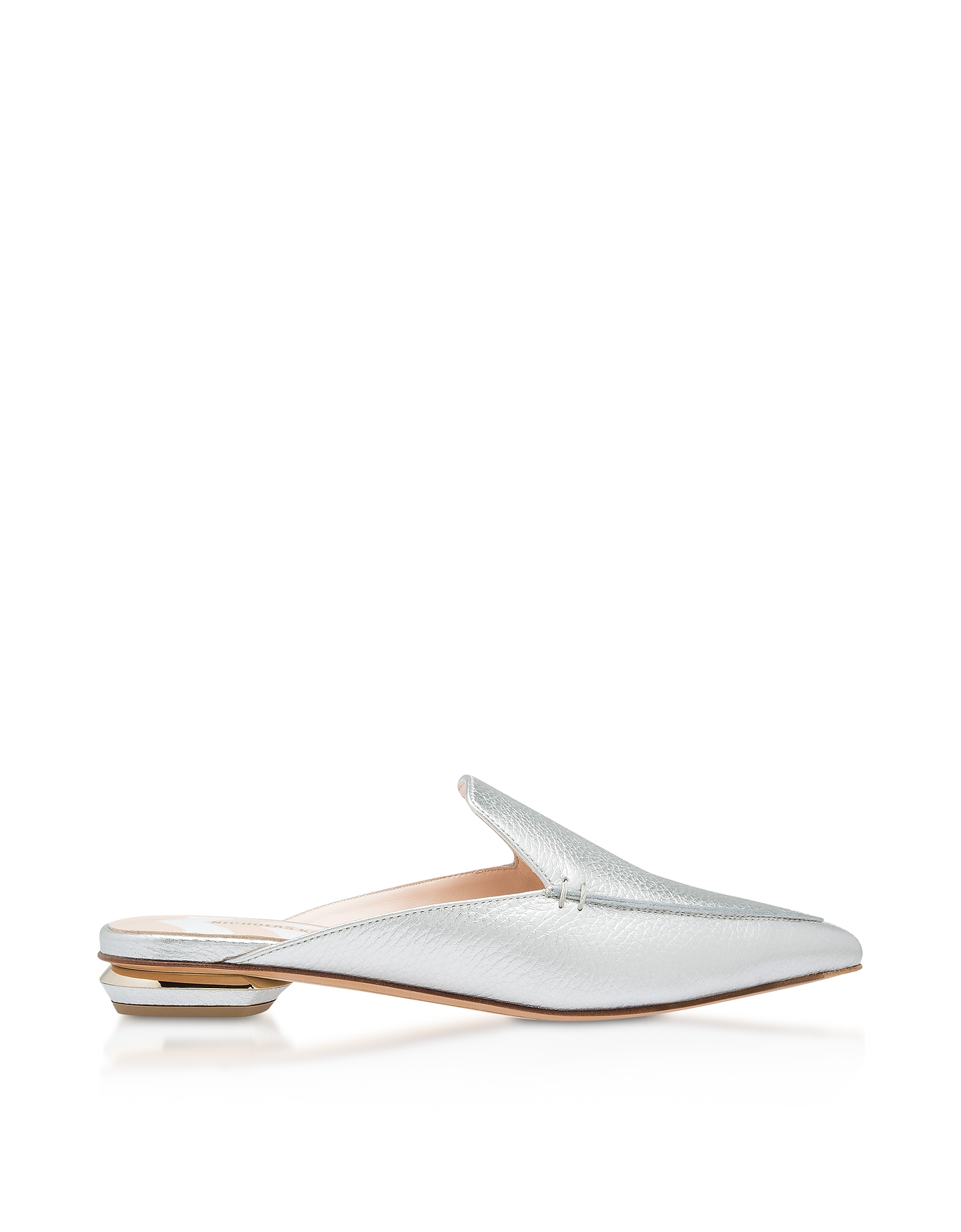 Nicholas Kirkwood Designer Shoes, Metallic Silver Grainy 18mm Beya Flat Mules