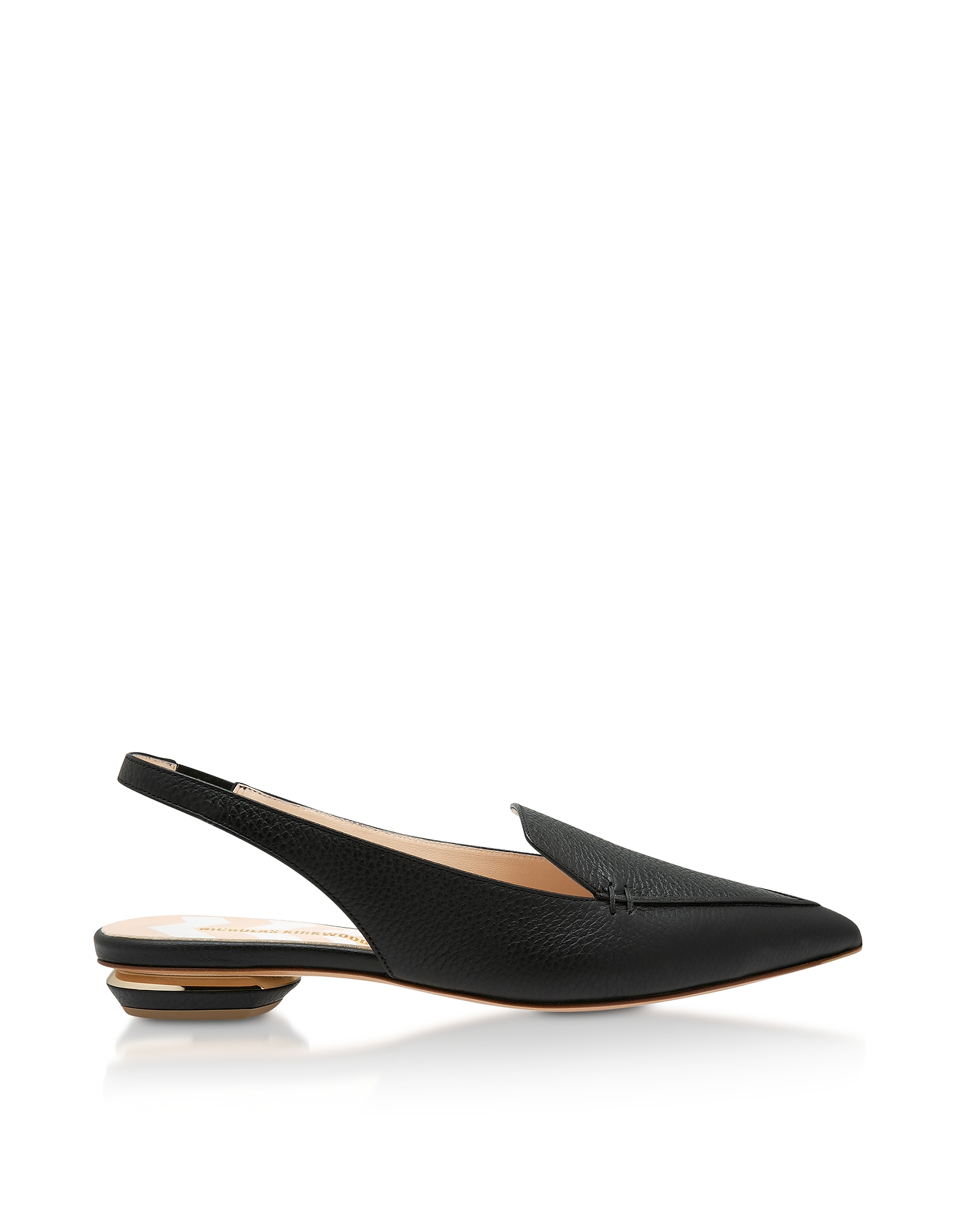 Black Grainy Leather 18mm Beya SlingBack Ballerinas