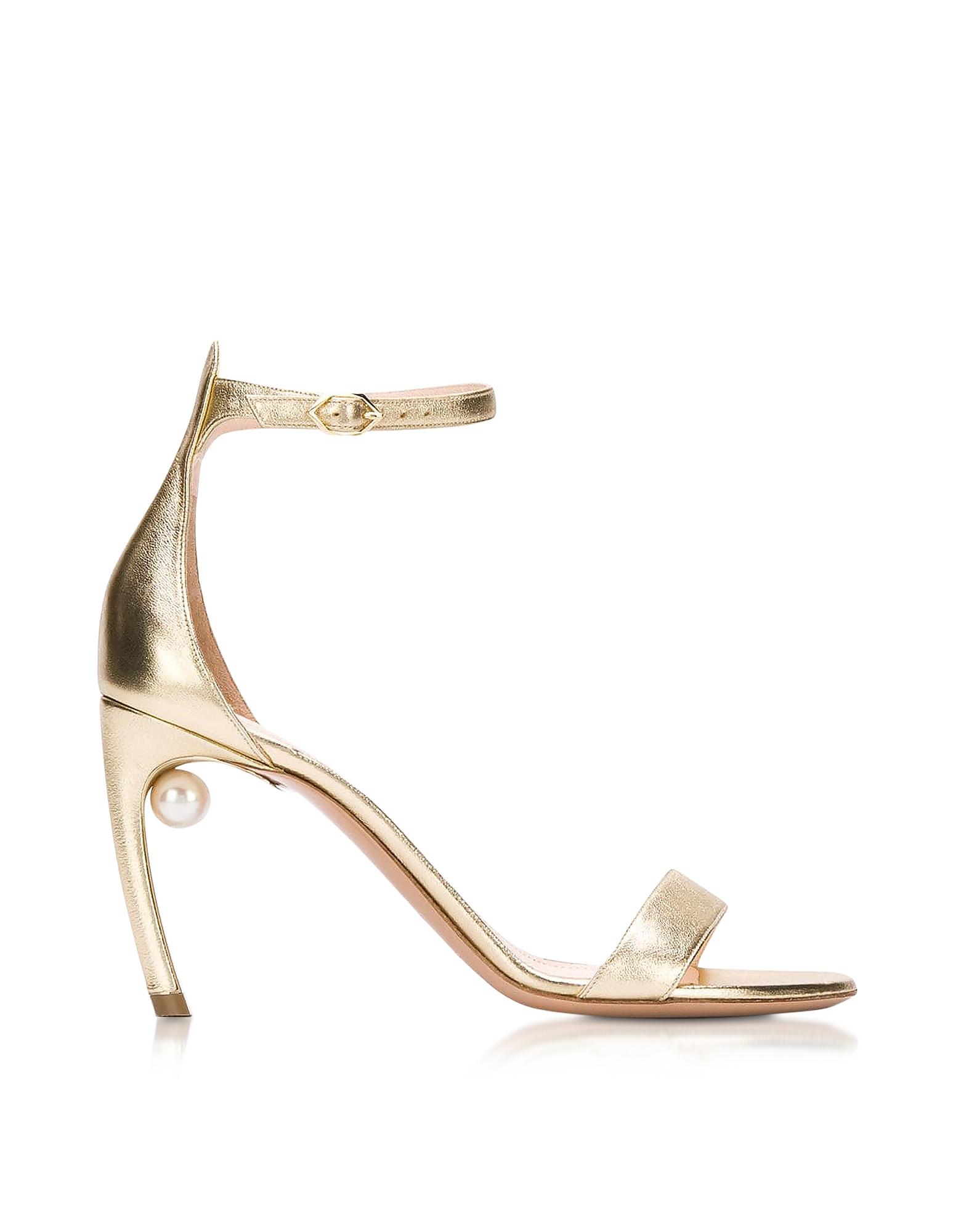 Nicholas Kirkwood Designer Shoes, Metallic Nappa 90mm Mira Pearl Sandals