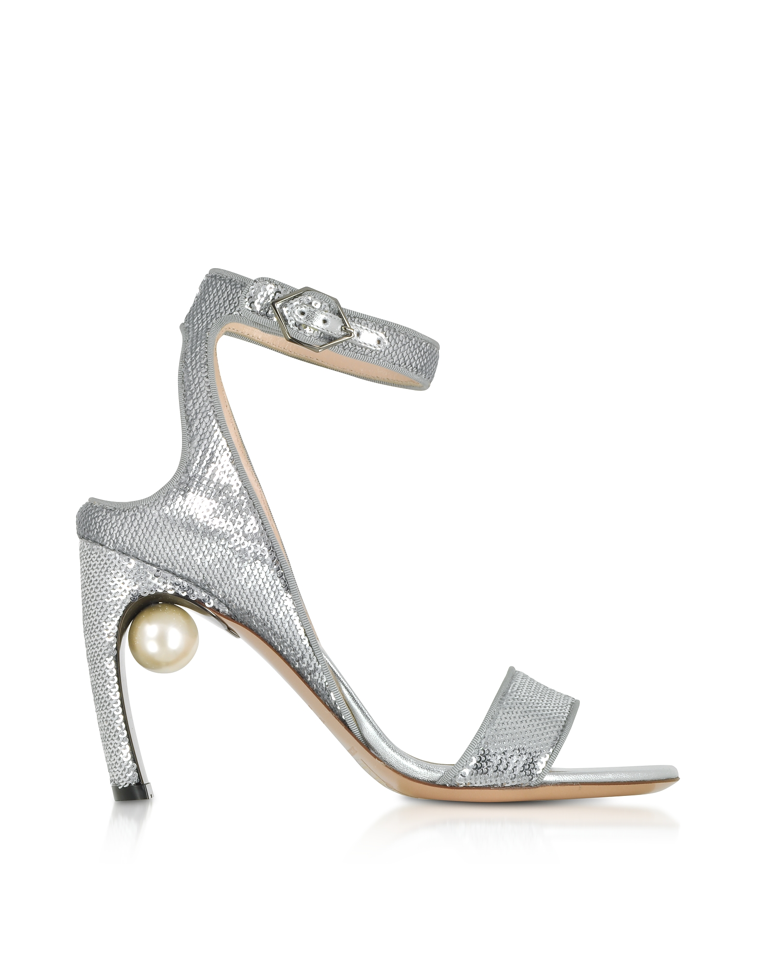 Nicholas Kirkwood Designer Shoes, Silver Sequins 90mm Lola Pearl Sandals