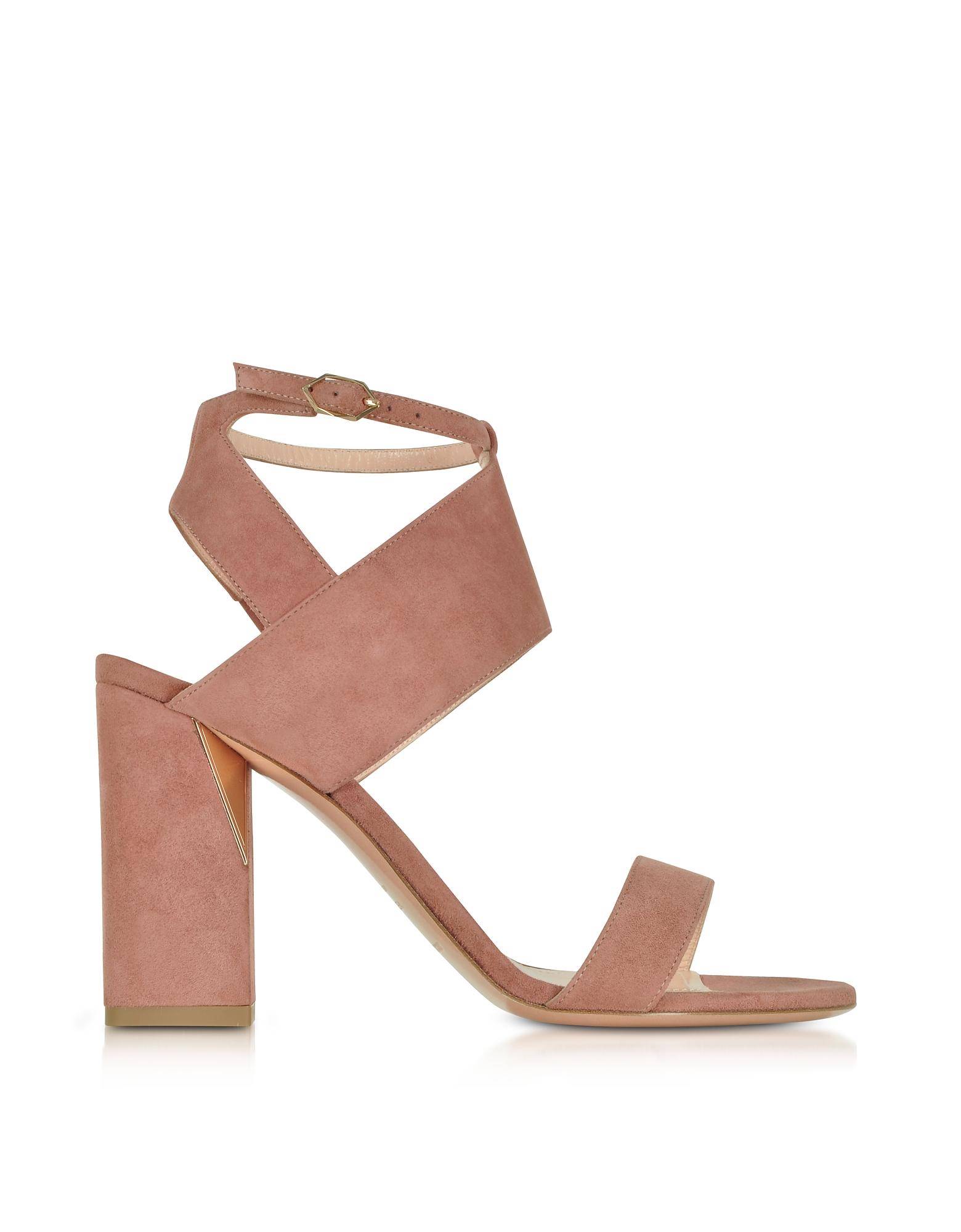 Nicholas Kirkwood Shoes, Rosewood Suede 90mm Eva Sandals