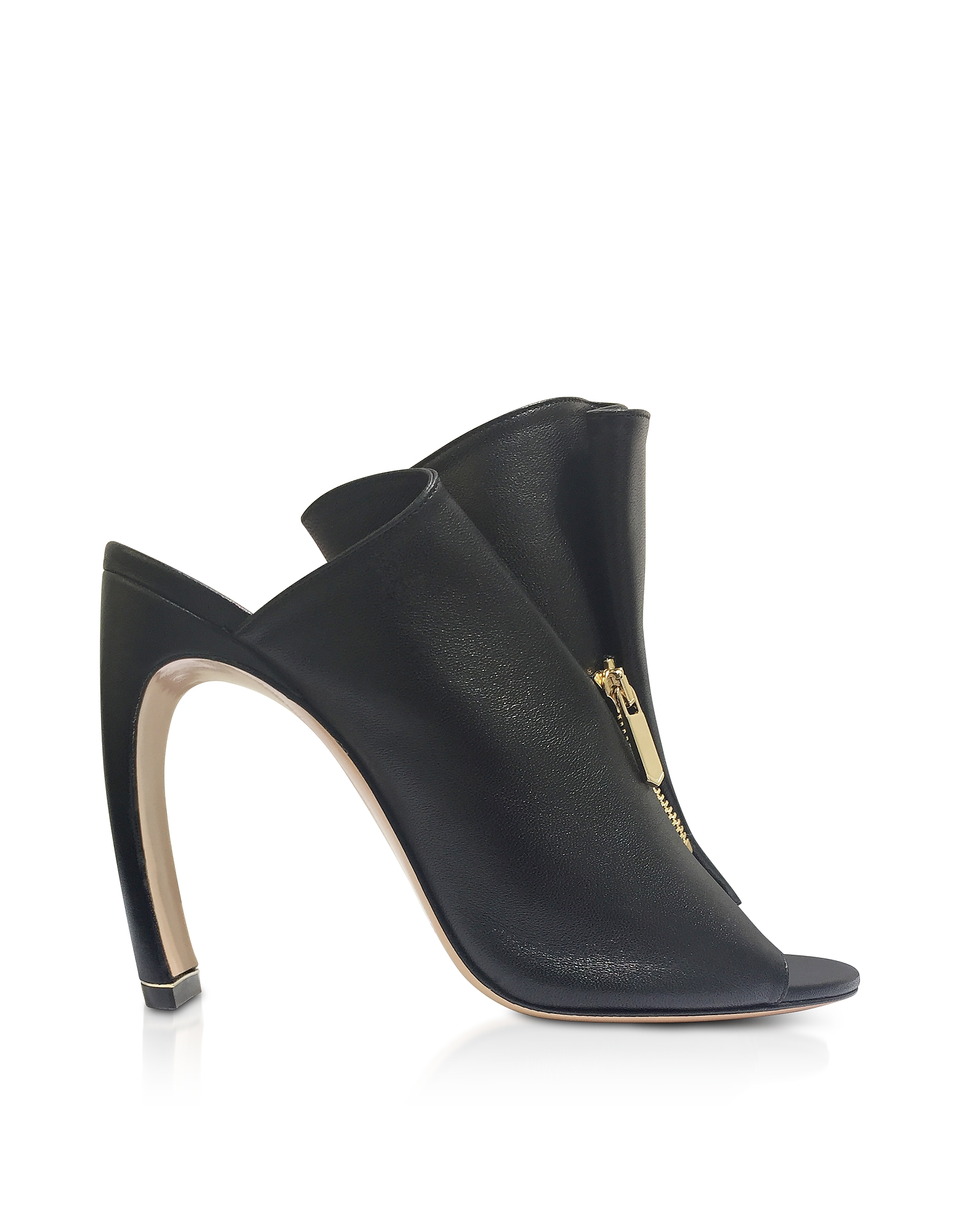 Nicholas Kirkwood Designer Shoes, Black Nappa 105mm Kristen High Heel Mules