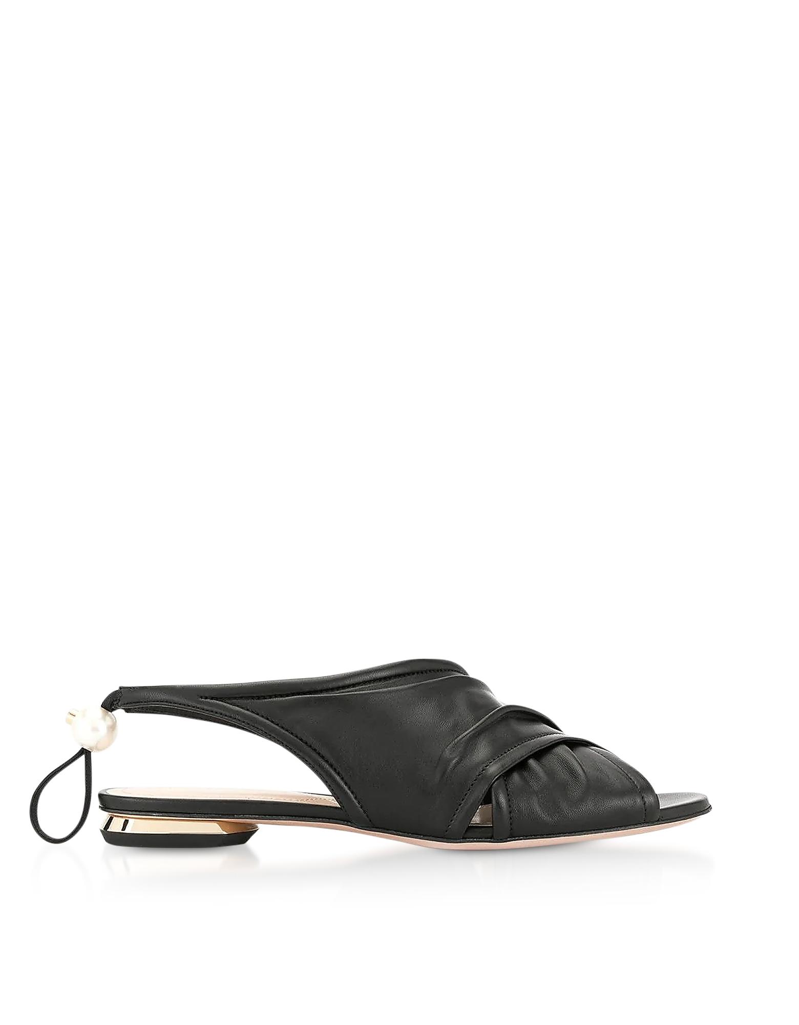 Black Nappa 10mm Delfi Sandals