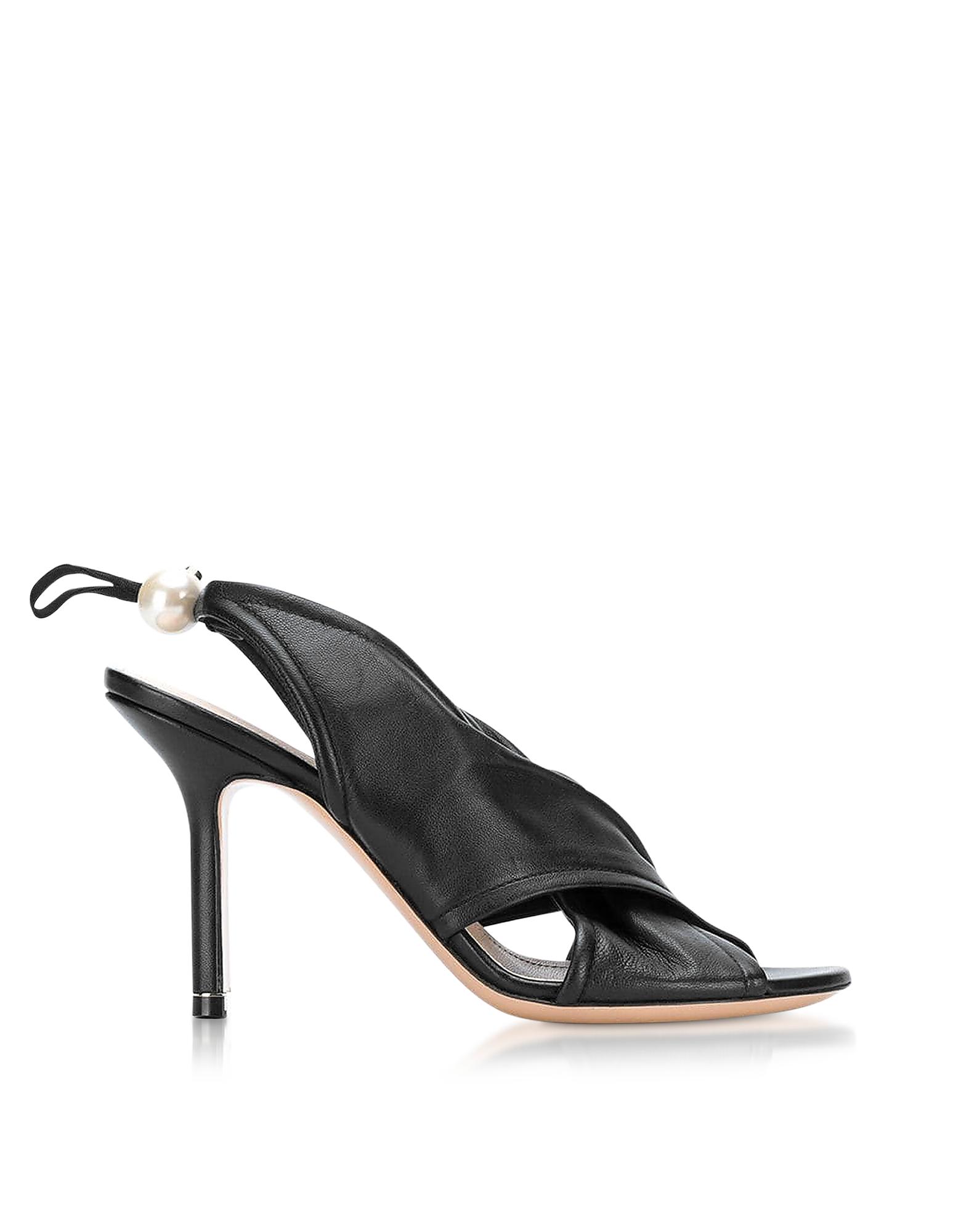 Black Nappa 90mm Delfi Sandals