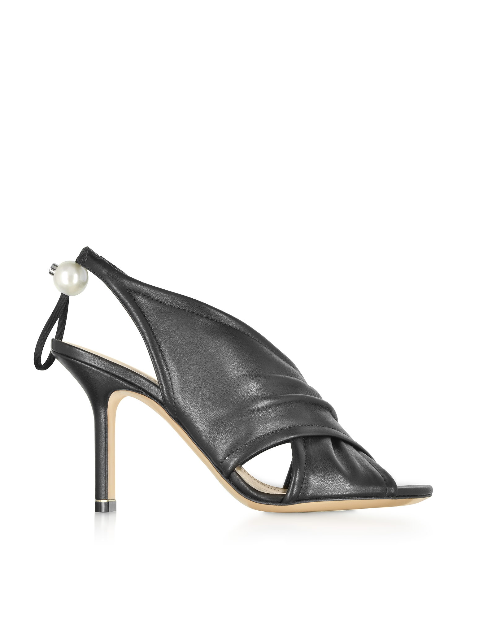 Nicholas Kirkwood Designer Shoes, Black Nappa 90mm Delfi Sandals