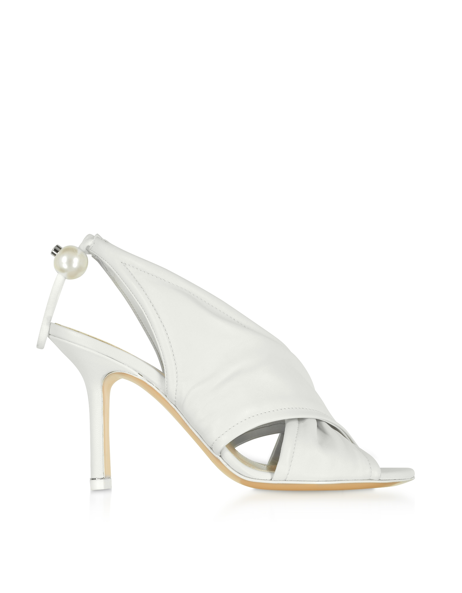 Nicholas Kirkwood Designer Shoes, White Nappa 90mm Delfi Sandals
