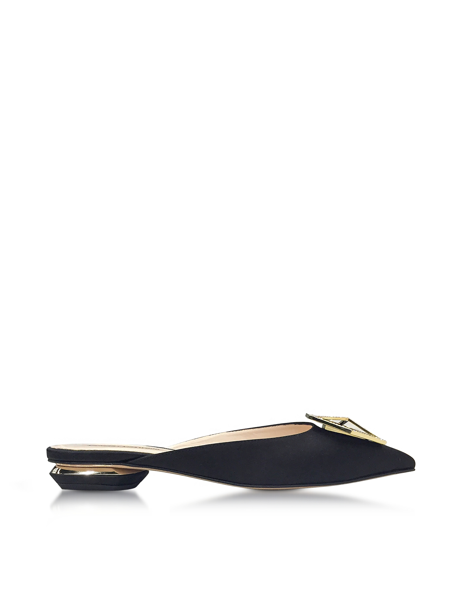 Nicholas Kirkwood Shoes, Eden Black Satin Jewel Mule