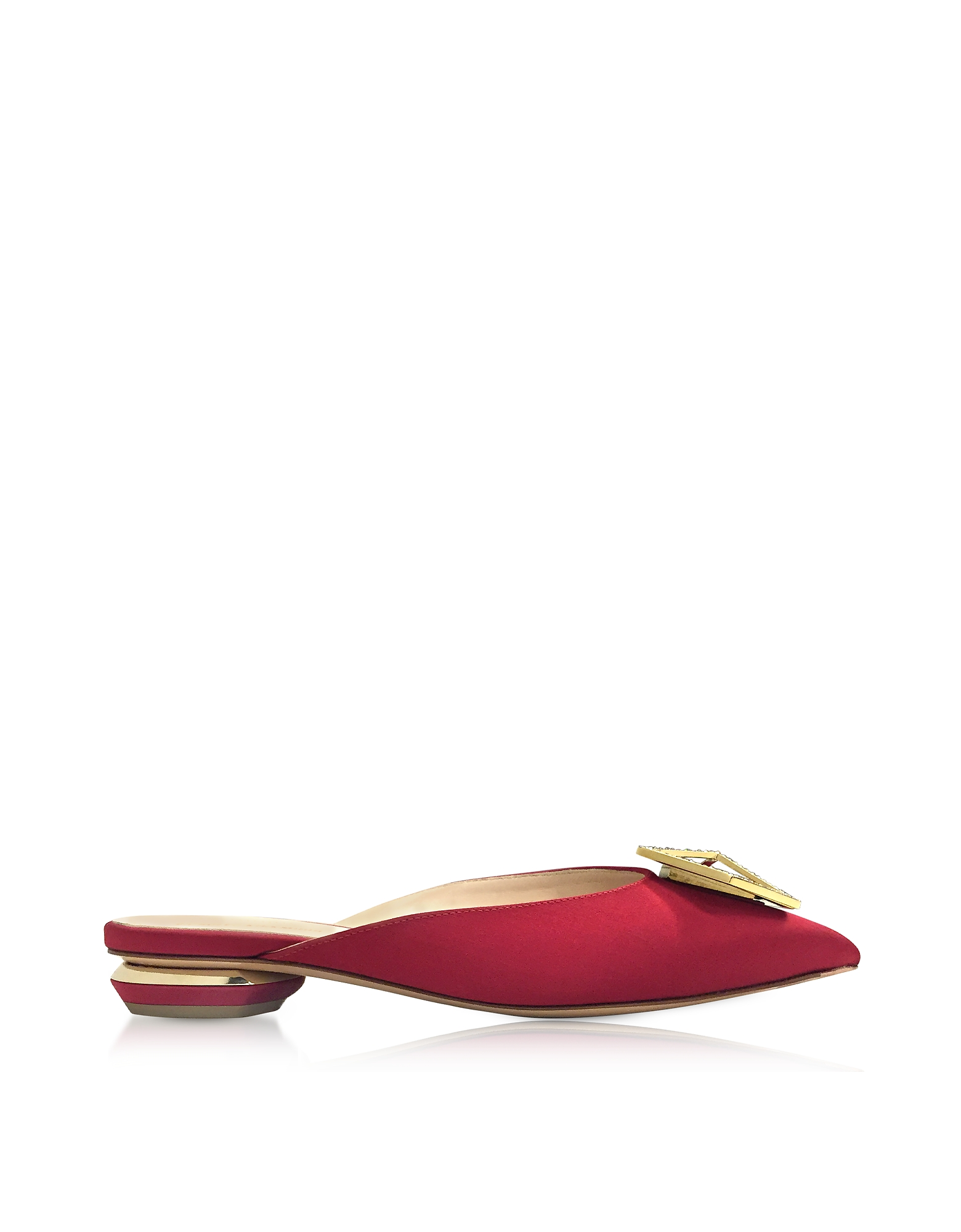 Nicholas Kirkwood Shoes, Eden Carmine Satin Jewel Mule