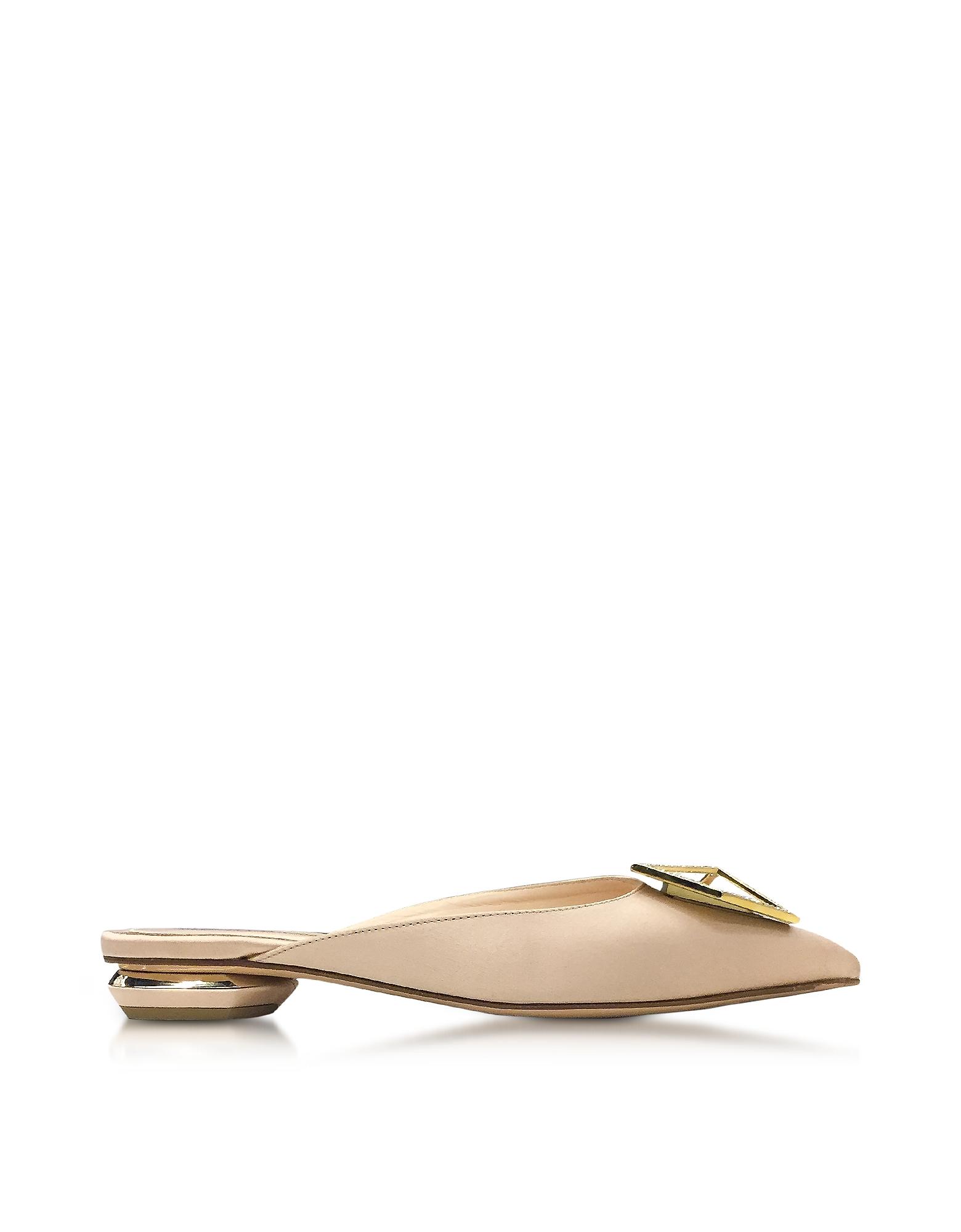 Nicholas Kirkwood Shoes, Eden Beige Satin Jewel Mule
