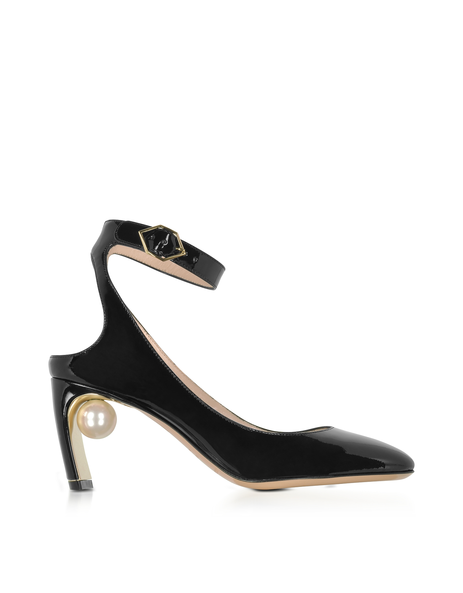 Nicholas Kirkwood Shoes, Lola Black Patent Leather Pearl Pump