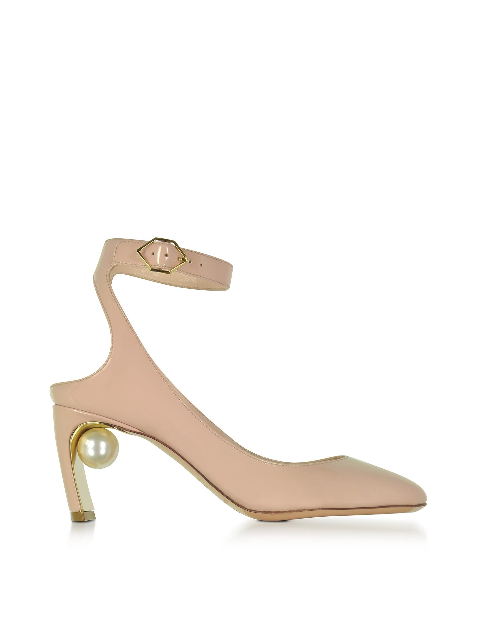 Фото Lola - Светло-розовые Туфли-Лодочки из Лакированной Кожи с Жемчужиной. Купить с доставкой