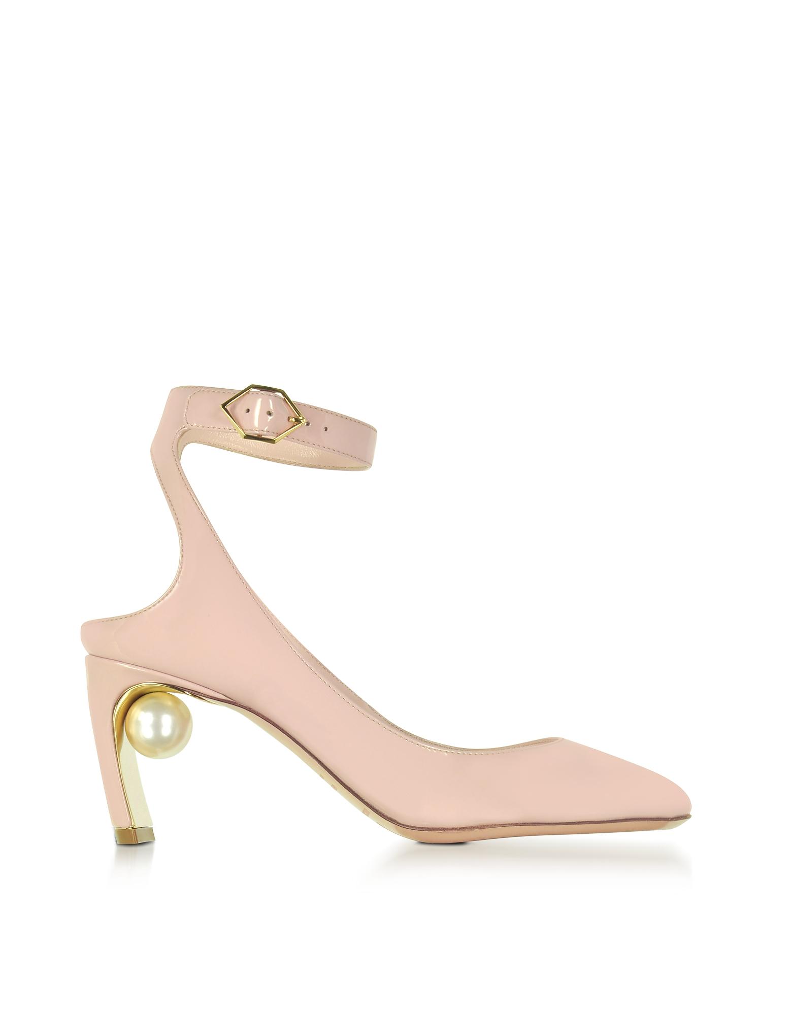 Nicholas Kirkwood Shoes, Lola Light Blush Patent Leather Pearl Pump