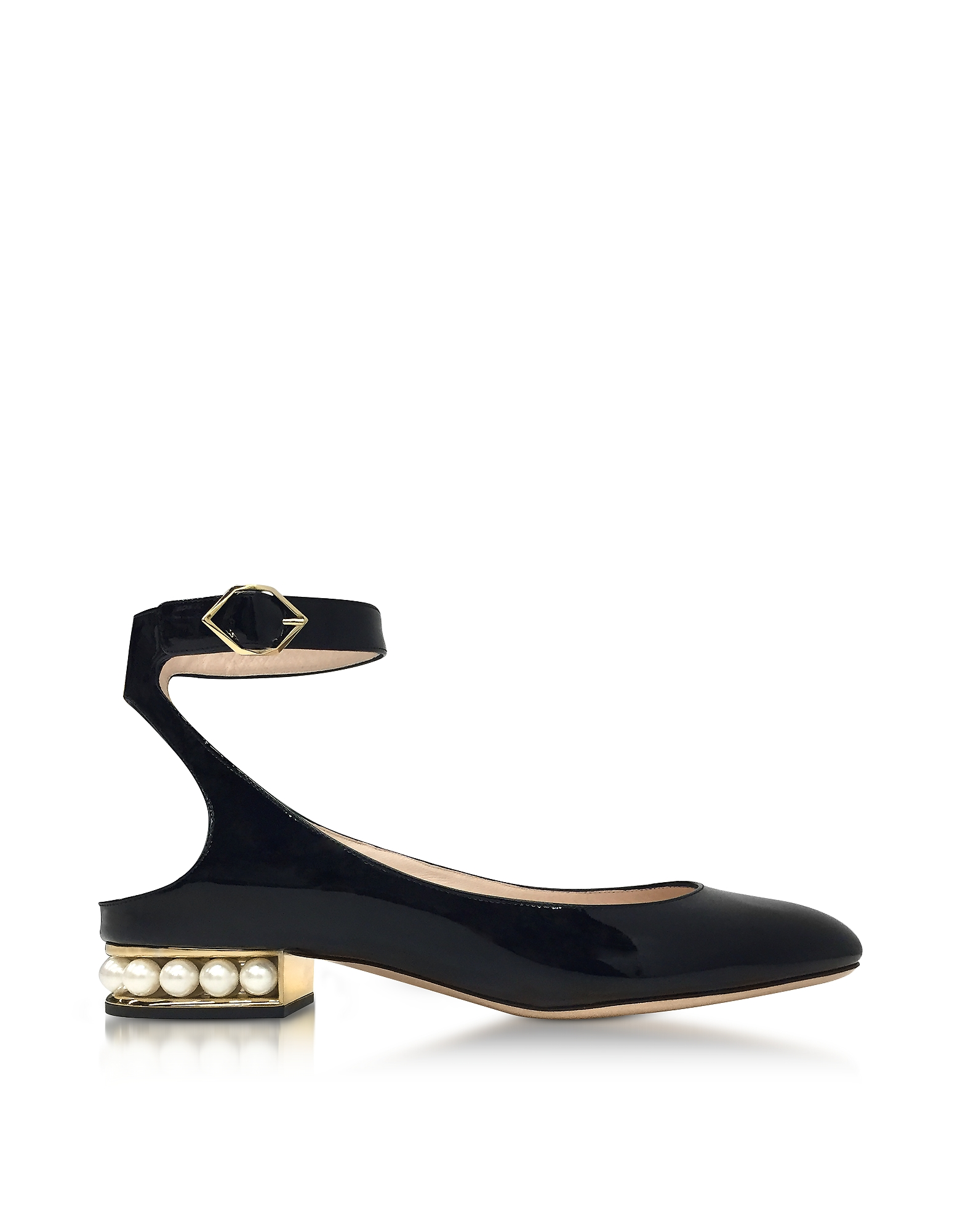 Nicholas Kirkwood Shoes, Lola Black Patent Leather Pearl Ballerina